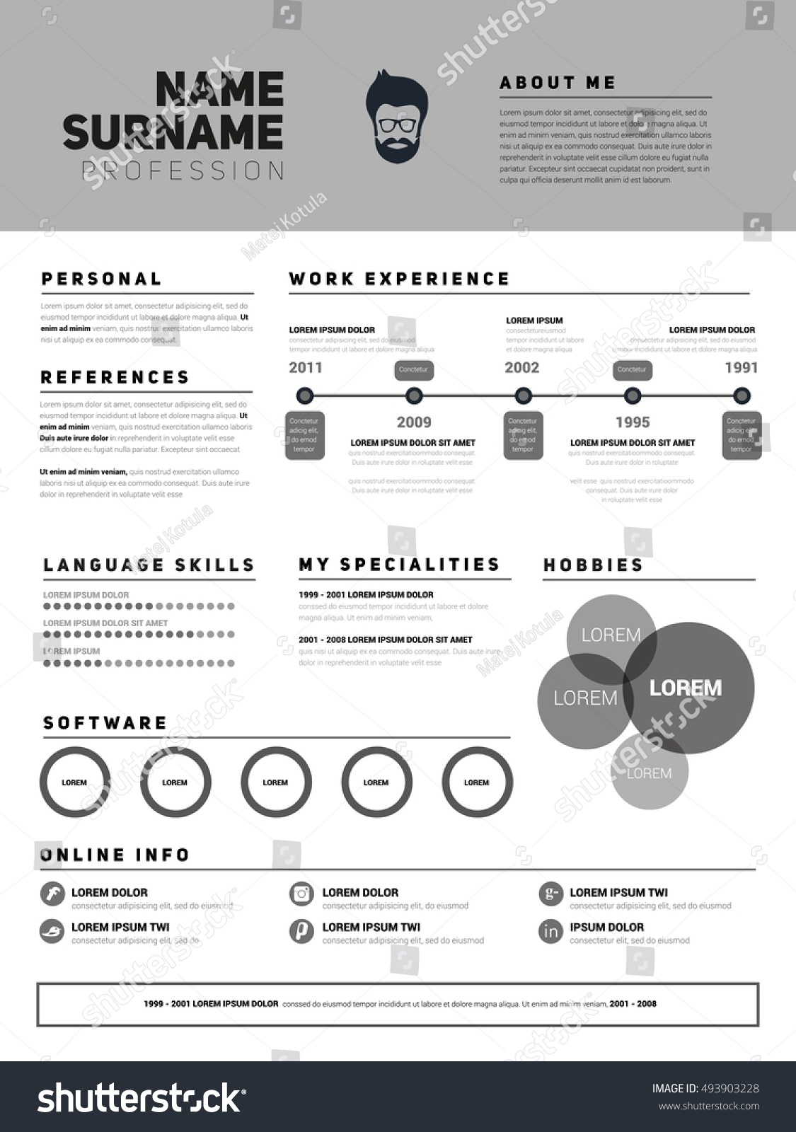 resume minimalist cv resume template simple stock vector 493903228