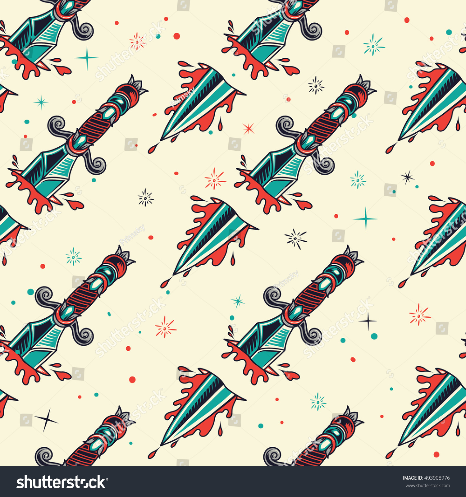 Connu Old School Daggers Tattoo Seamless Pattern Image Vectorielle  YX52