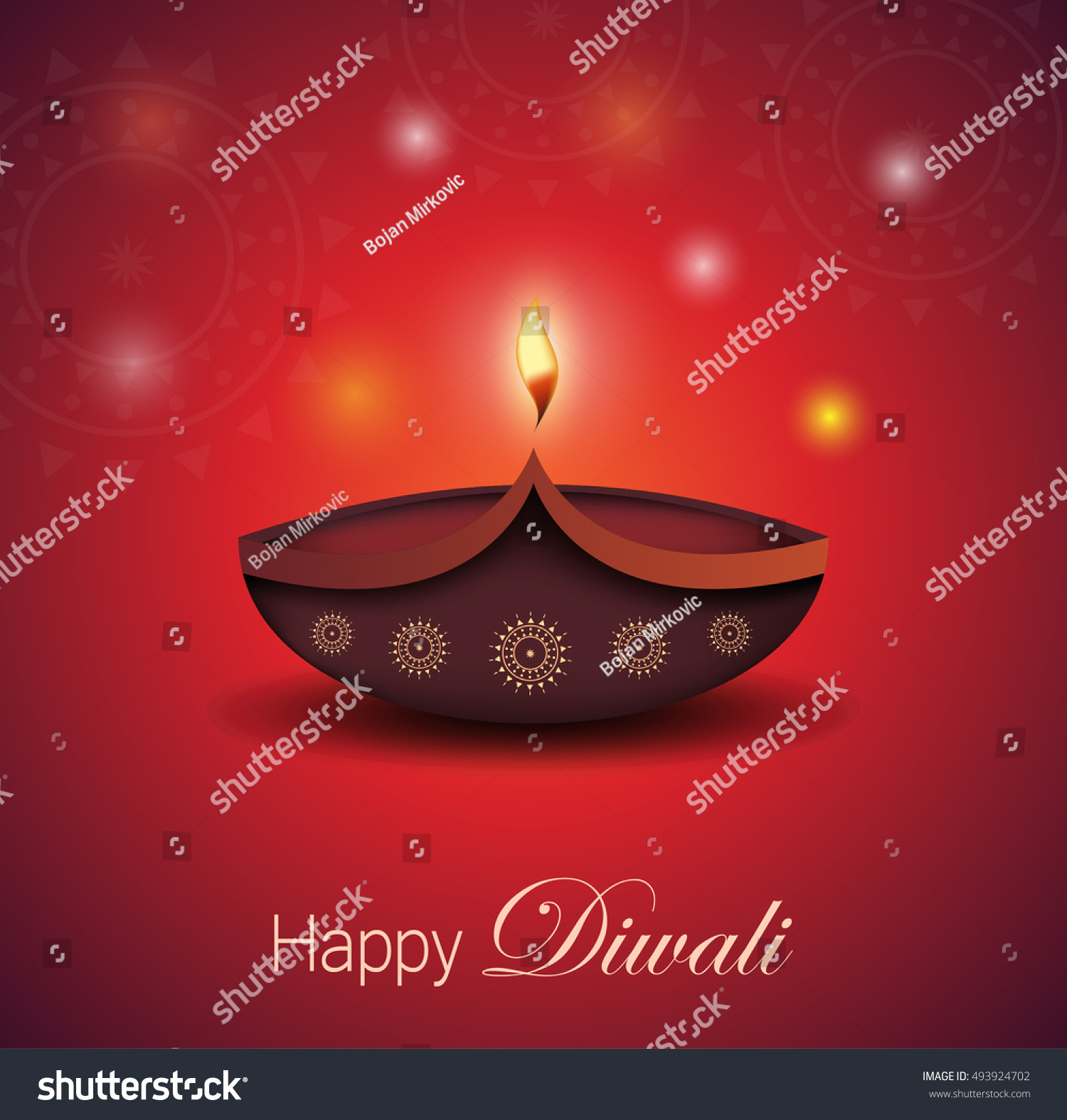 Diwali Greeting Card Burning Diya Festival Stock Vector Royalty