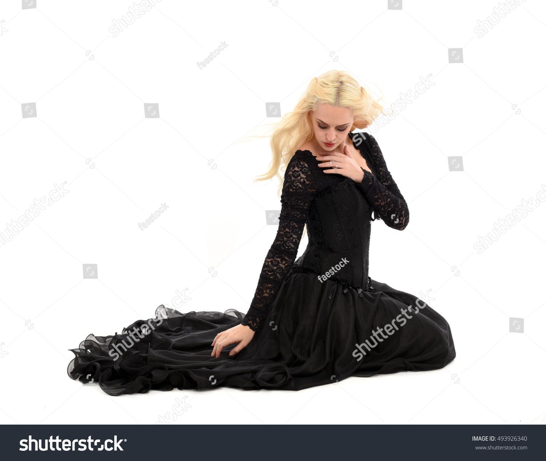 Beautiful Blonde Woman Wearing Long Black Stock Photo (Edit Now ...