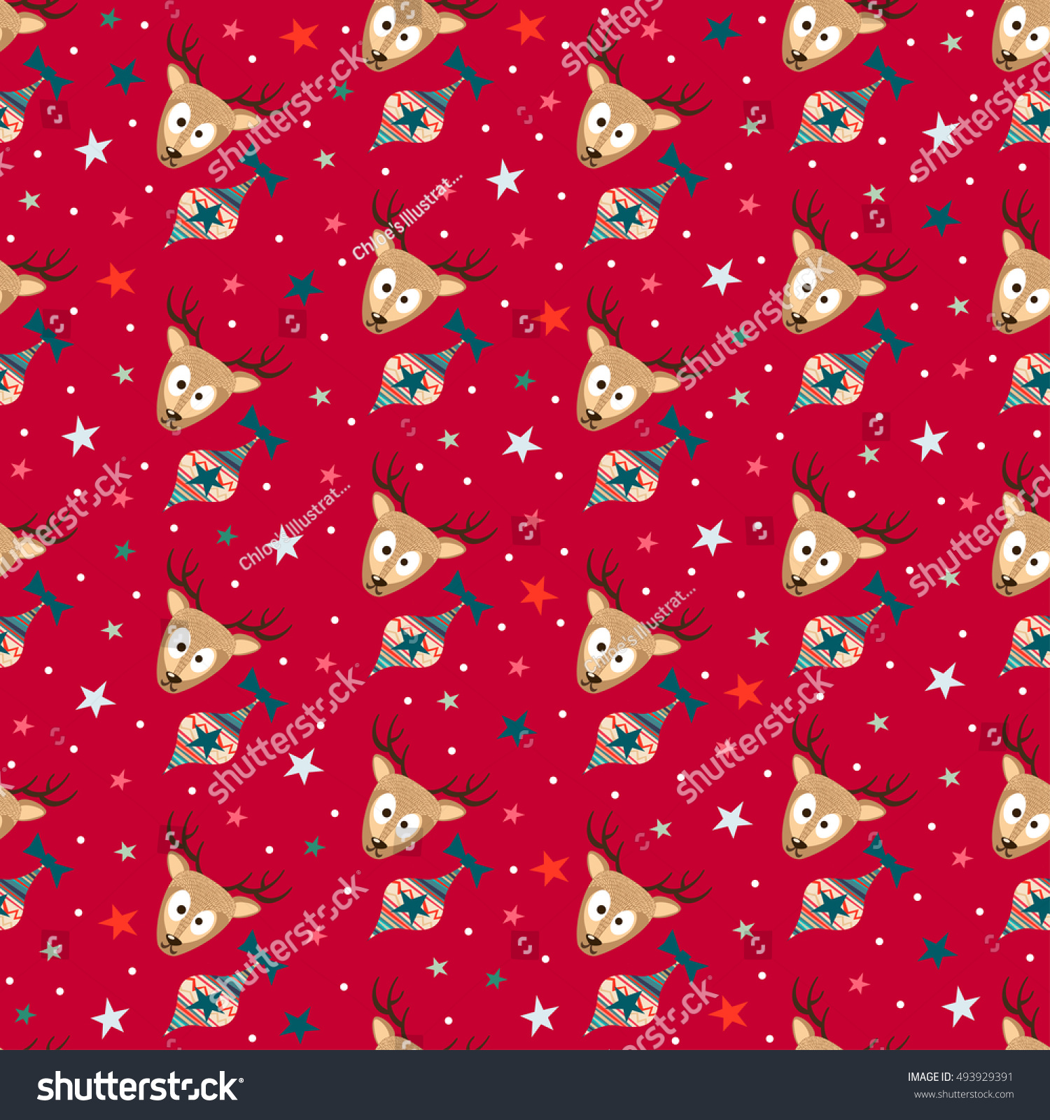 Red Merry Christmas Seamless Pattern Background with Cute Deers, Christmas Tree Toys and Stars. New Years Xmas Gift Wrapping Paper. Raster Cute Christmas Seamless Pattern