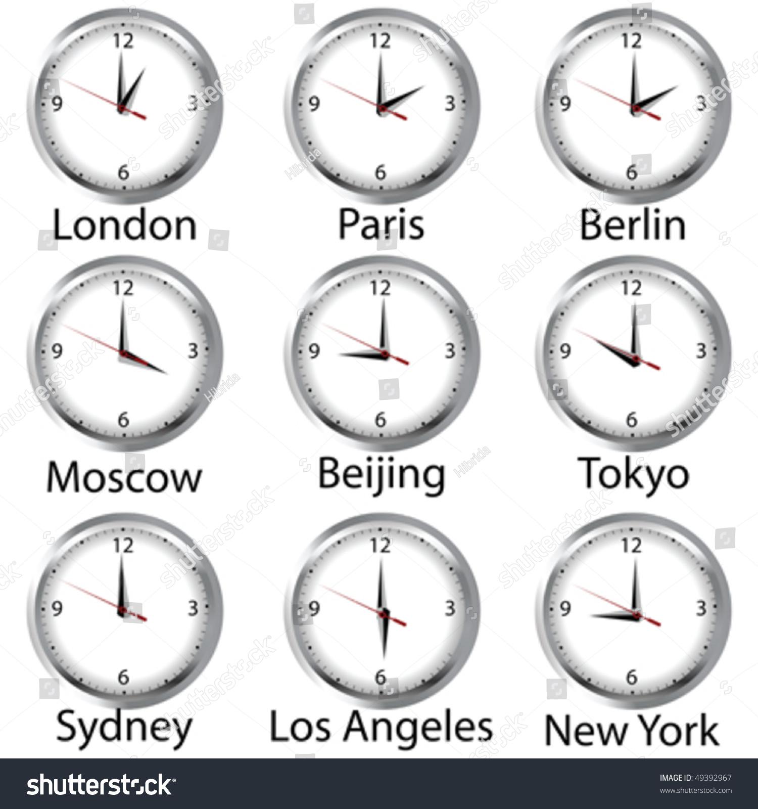 Timezone Clock Clocks Showing Time Around Stock Vector 49392967 ...