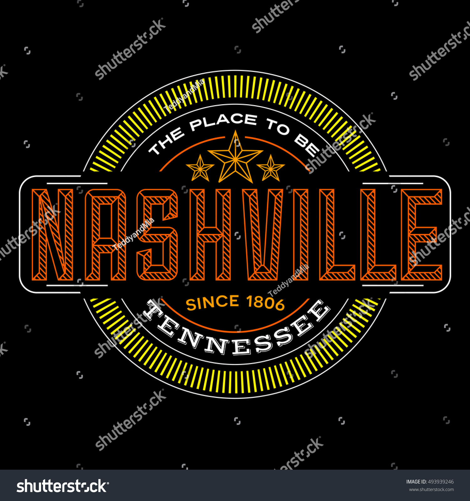 Nashville Tennessee Linear Logo Design T Stock Vector