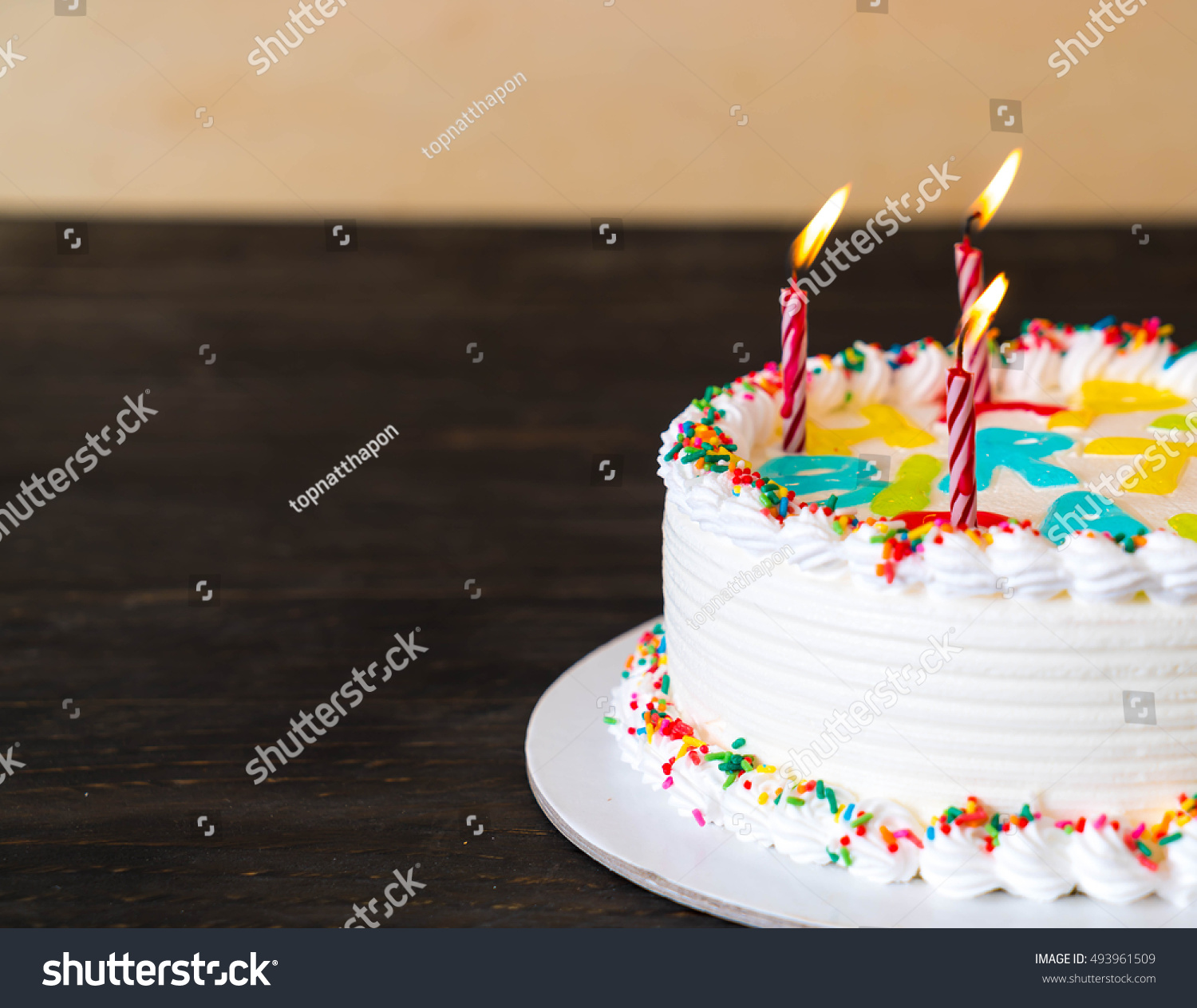 Happy Birthday Cake On Table Stock Photo Edit Now 493961509