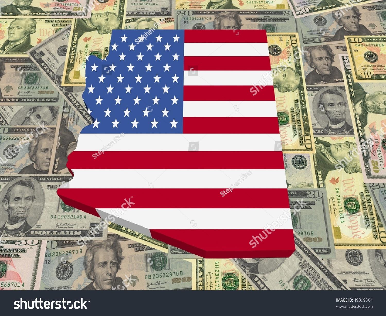 3d Map Of Arizona.Royalty Free Stock Illustration Of Arizona 3 D Map Flag On American
