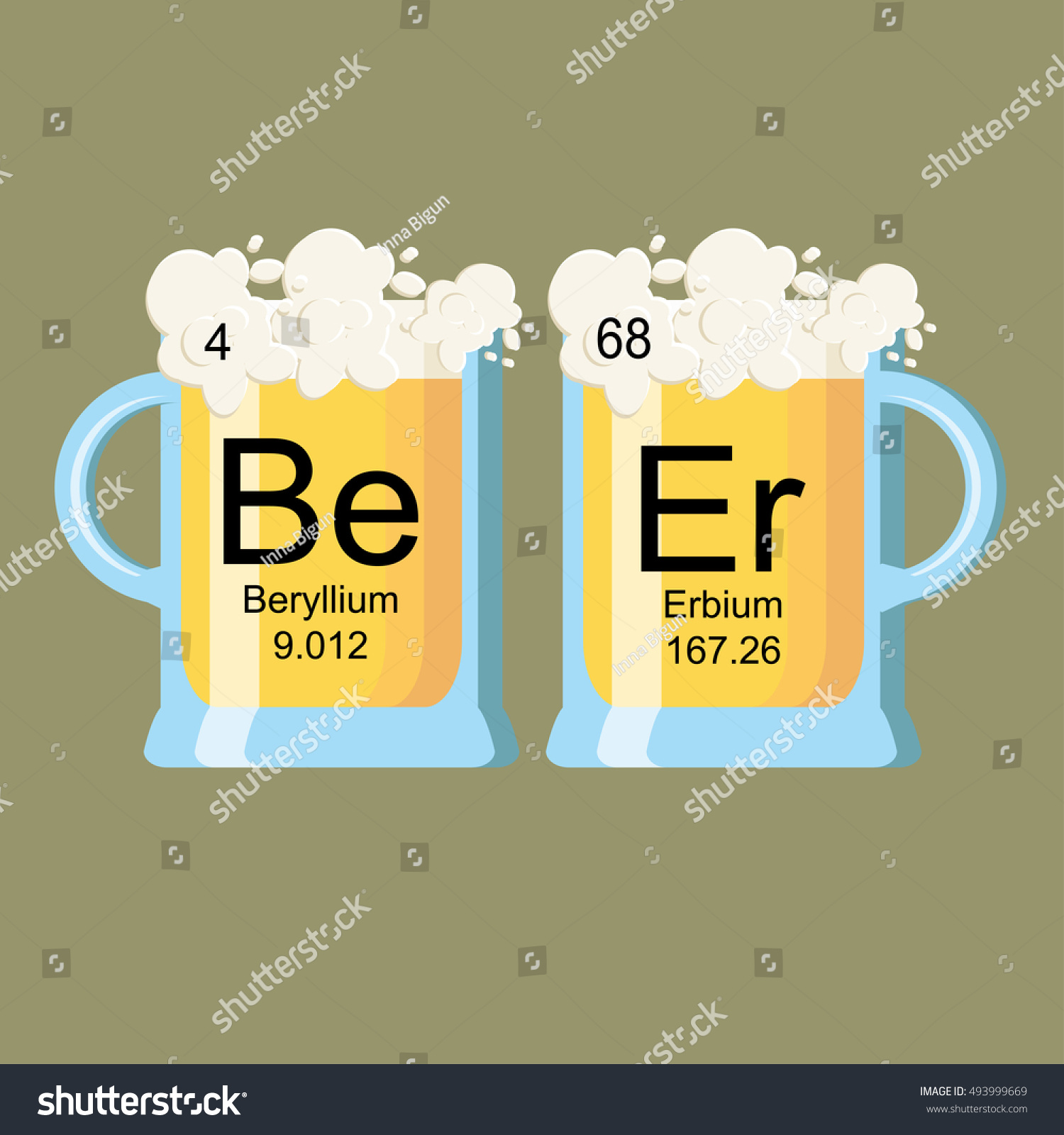Word Beer Made Chemical Elements Beryllium Stock Vector
