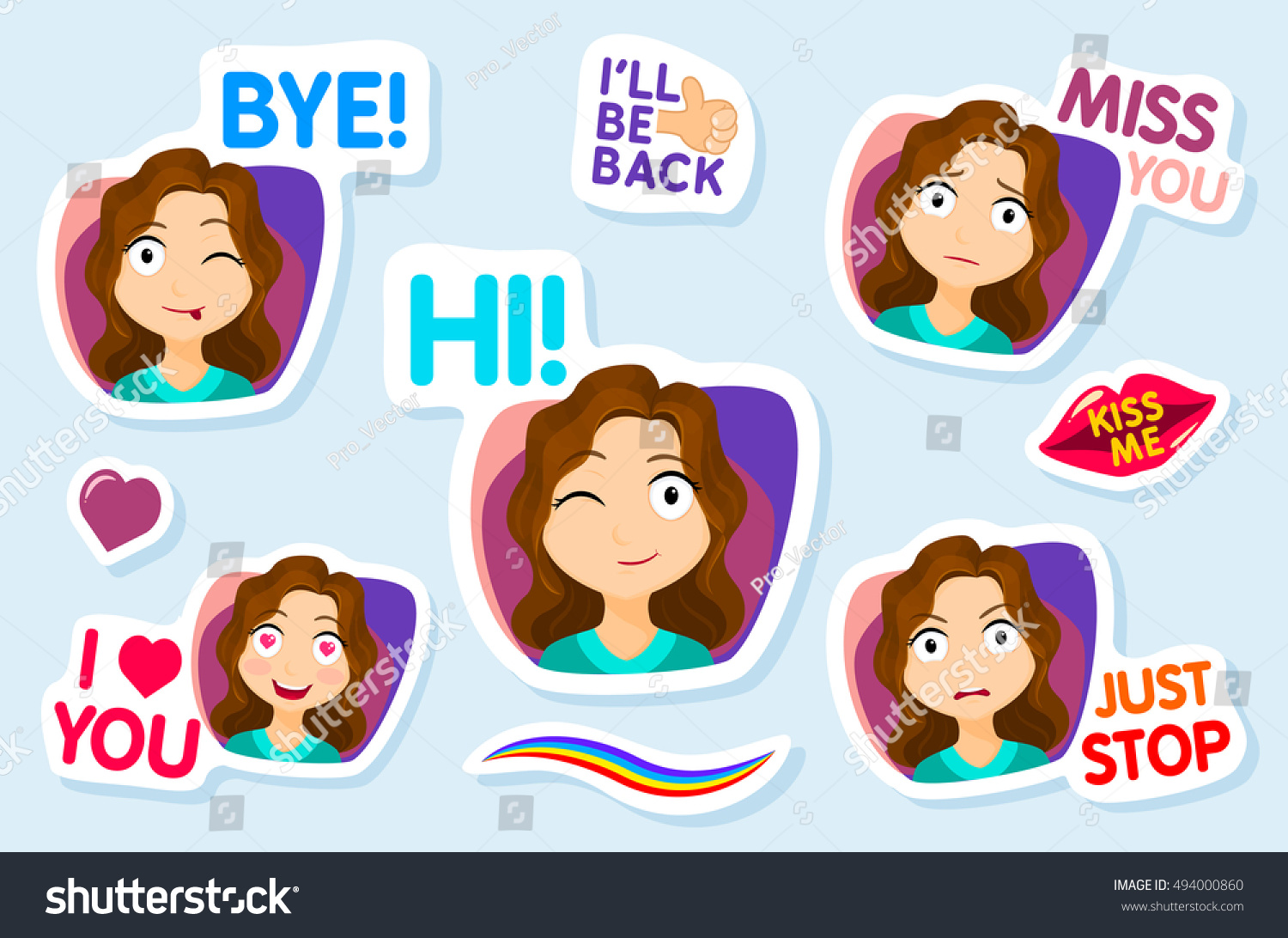 collection stickers chat sms cute girl stock vector. Black Bedroom Furniture Sets. Home Design Ideas