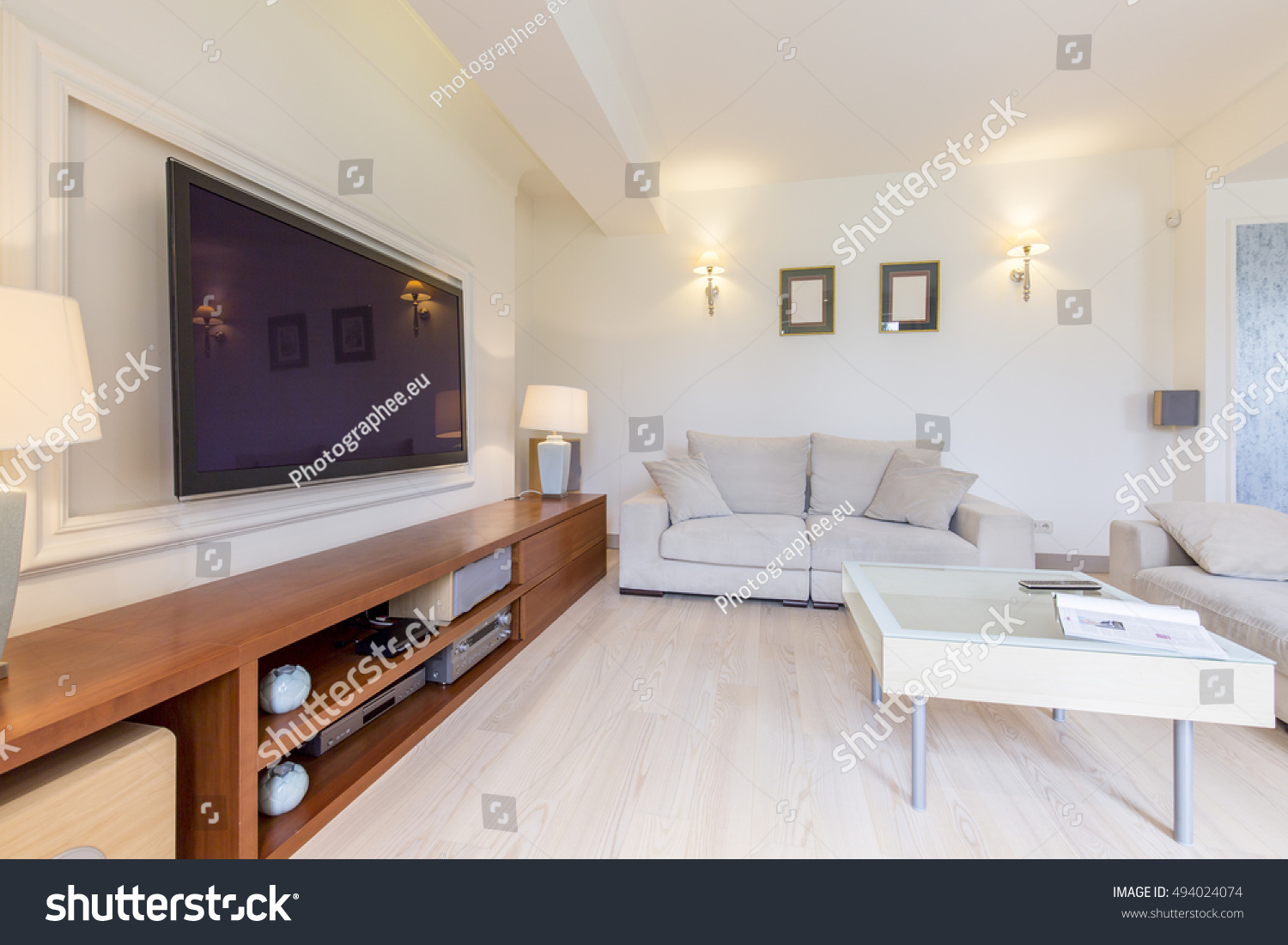 Tv On Wall Modern Spacious Living Stock Photo (Royalty Free ...