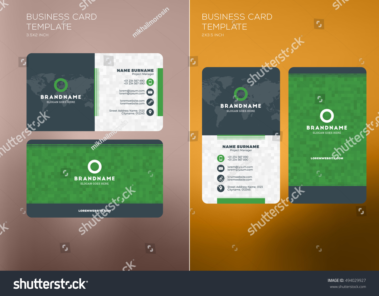 Corporate Business Card Print Template Personal Stock Vector ...