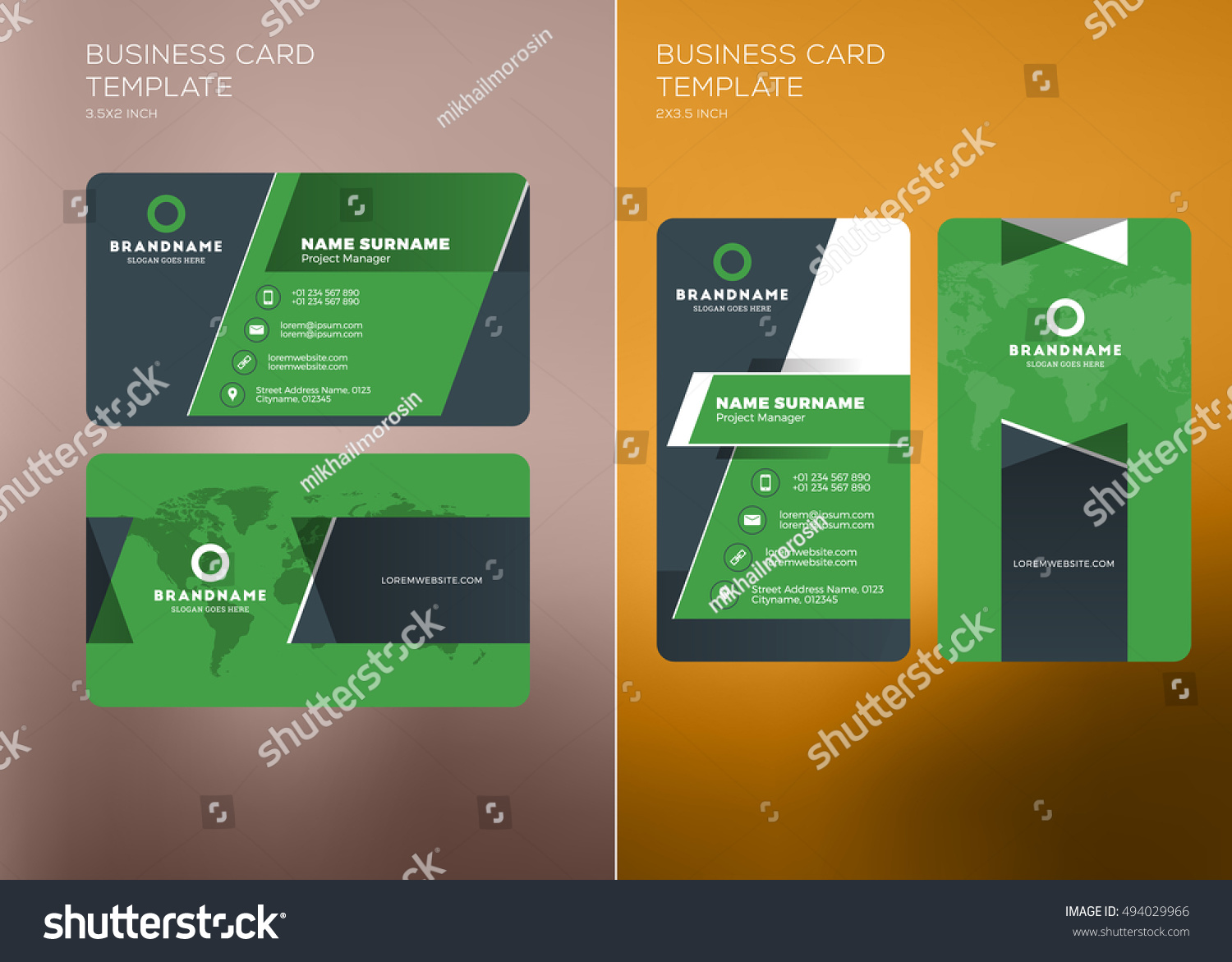 Corporate business card print template personal stock vector corporate business card print template personal visiting card with company logo vertical and horizontal fbccfo Gallery