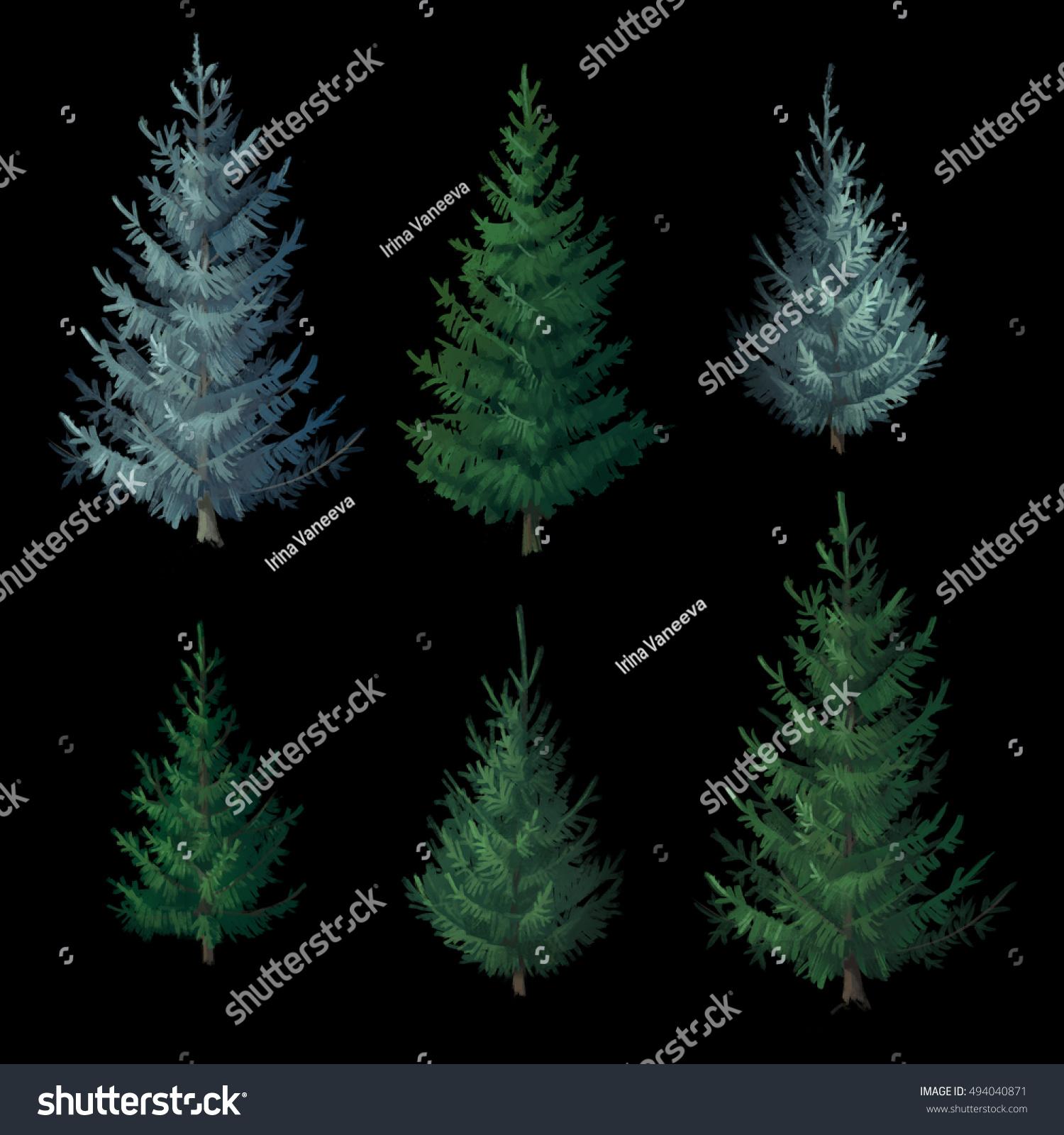 Set christmas trees on black background stock illustration for African skin decoration