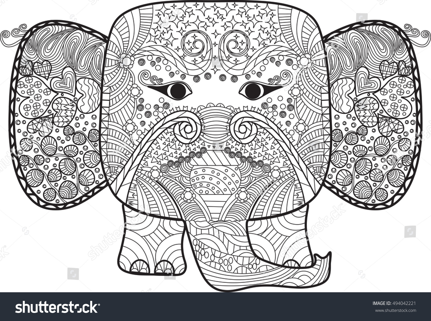 abstract cute elephant doodle hand drawn stock vector 494042221