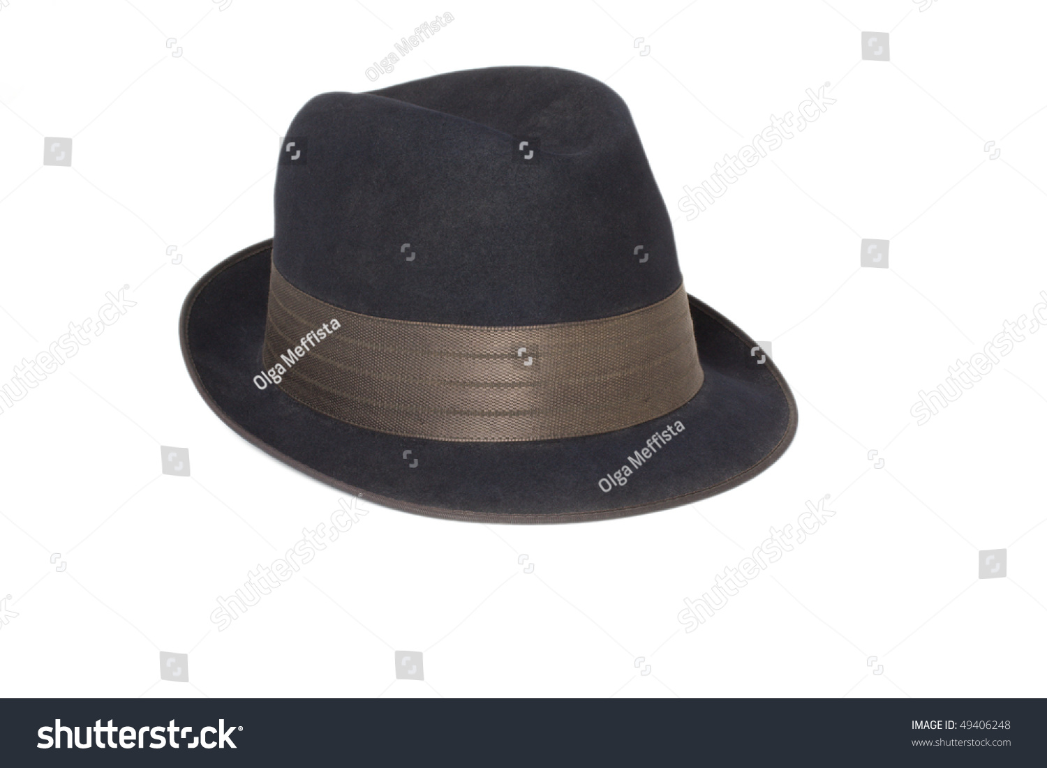 black classic men's hat on a white background #49406248