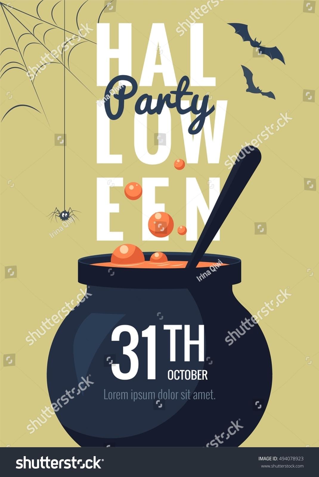 Halloween Party Invitation Cartoon Style Funny Stock Vector ...