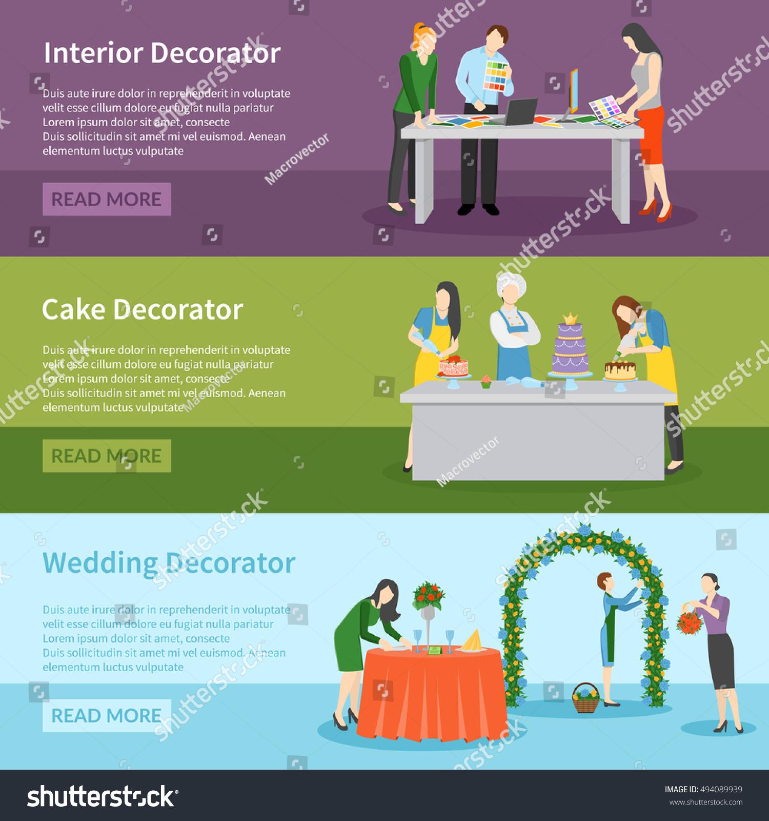Interior Design Wedding Ceremony Decoration Ideas Stock Vector ...
