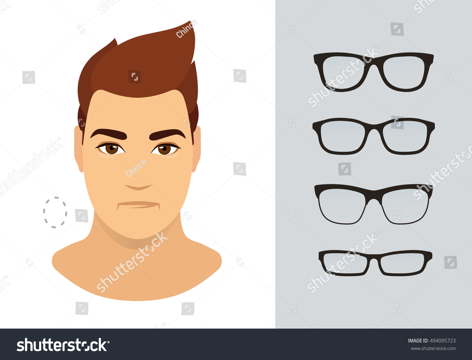 Man Sunglasses Shapes Oval Man Face Stock Vector Royalty Free