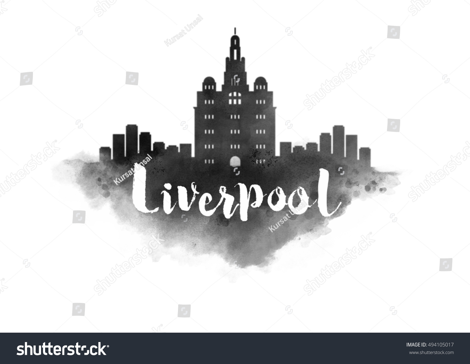 Watercolor Liverpool City Skyline Stock Illustration