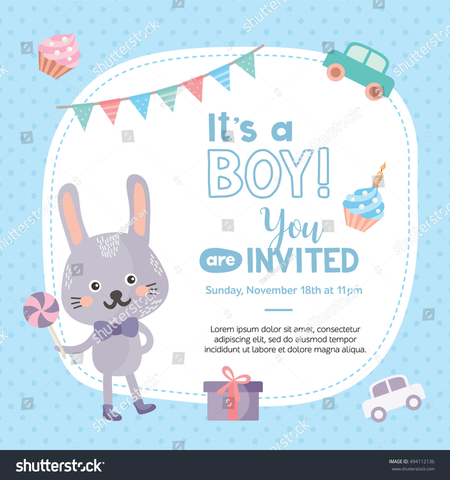 Boy invitation card template cute rabbit stock vector 494112136 invitation card template with cute rabbit baby shower card with car pronofoot35fo Choice Image