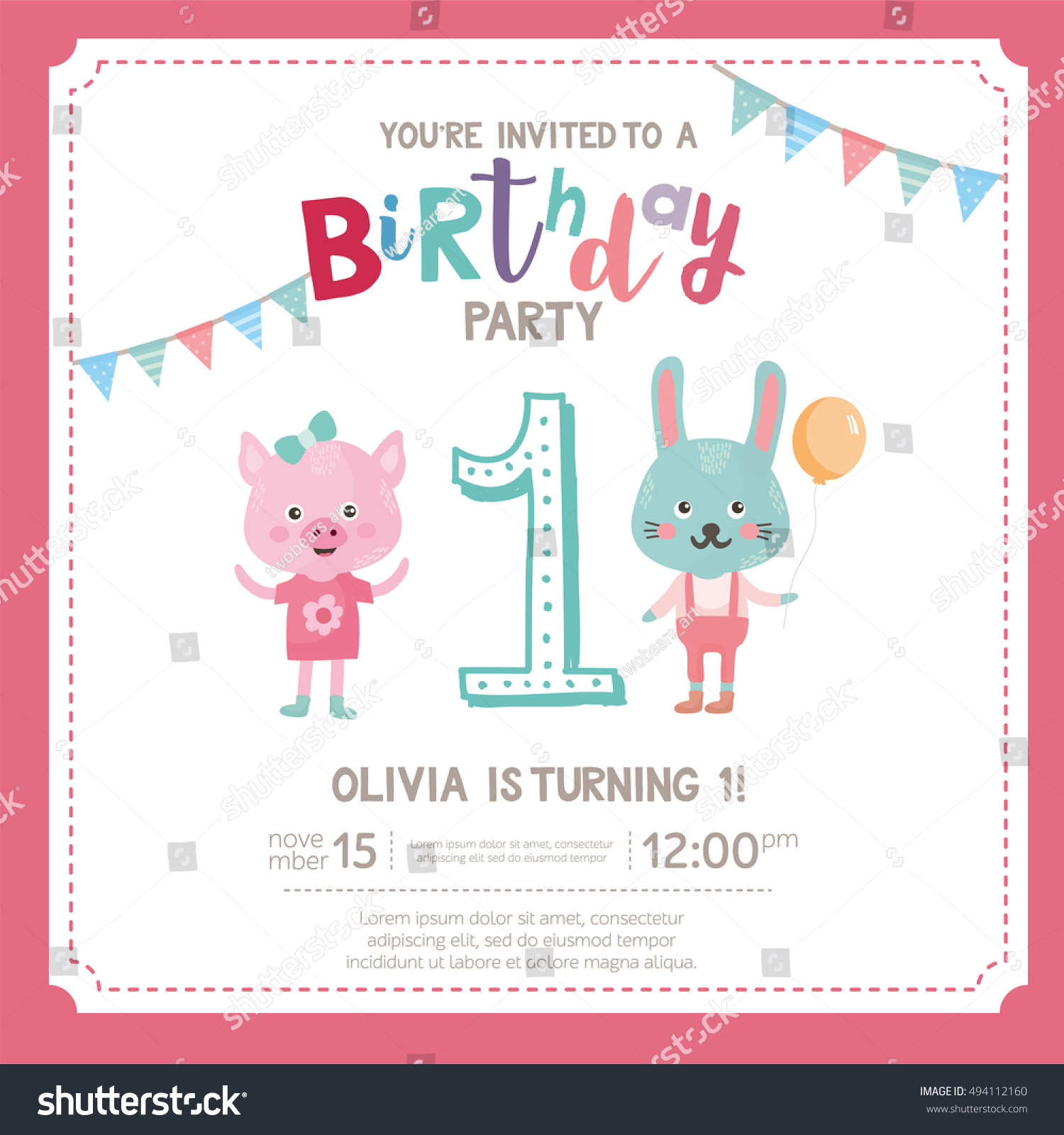 Greeting Card Design With Cute Pig And Rabbit Happy Birthday Invitation Template For One Year