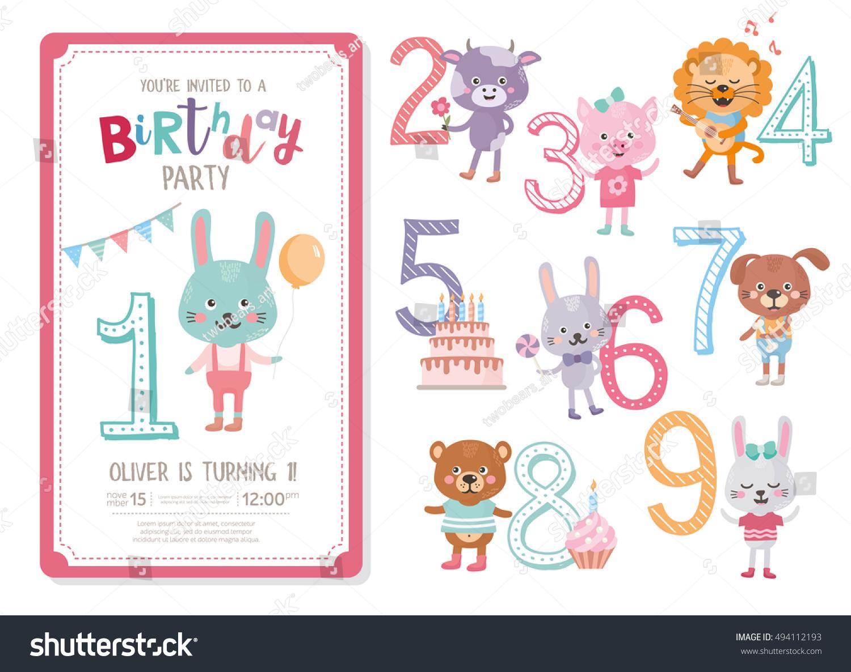Happy Birthday Invitation Template Birthday Anniversary Stock Vector ...