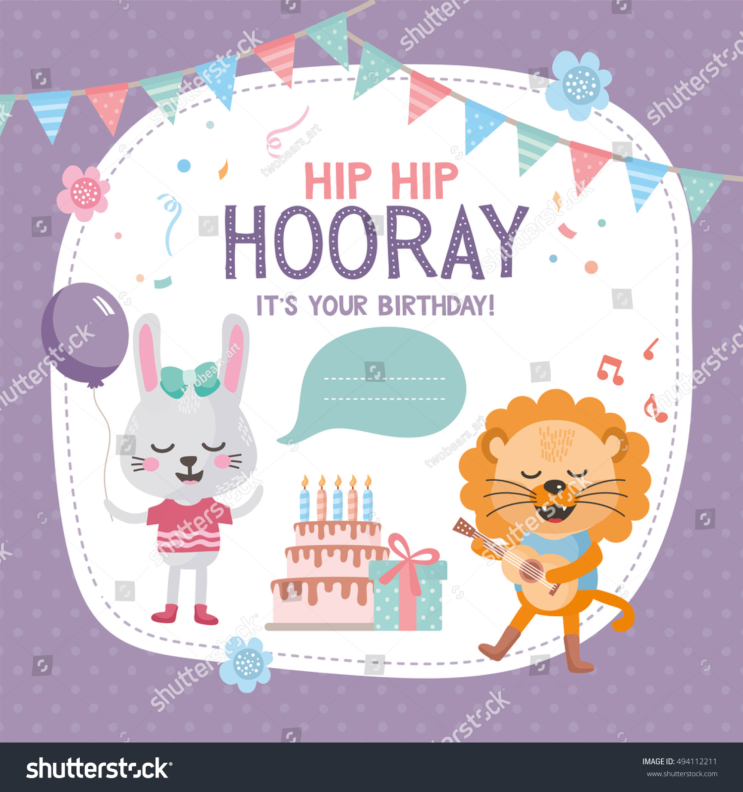 Greeting Card Design With Cute Lion And Rabbit Happy Birthday Invitation Template Flag