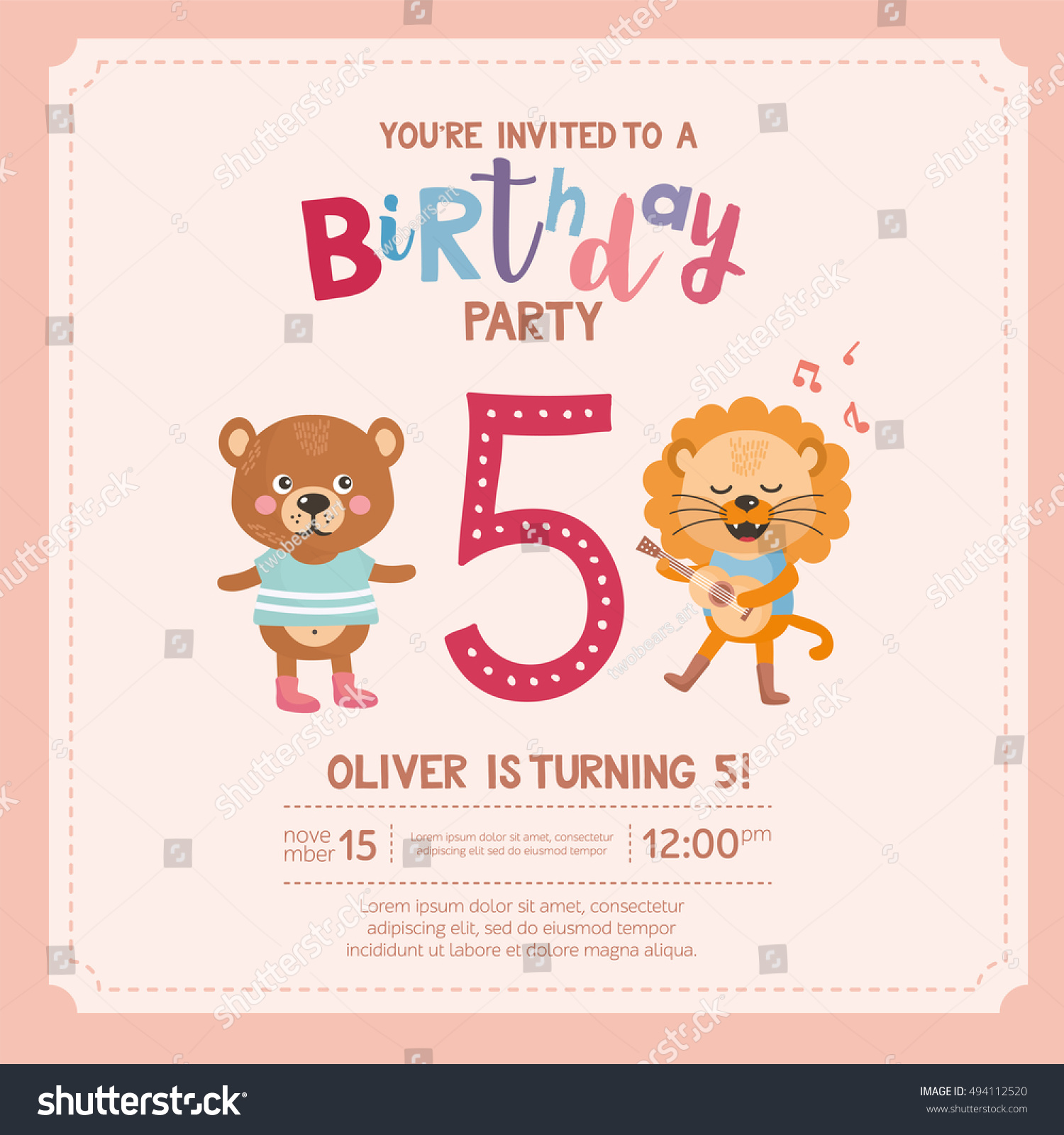 Greeting Card Design With Cute Lion And Bear Happy Birthday Invitation Template For Five Year Old Cartoon Animals Funny Letters