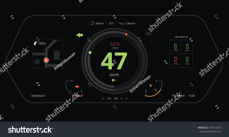 Car Dashboard Modern Automobile Vector Illustration Stock Vector ...