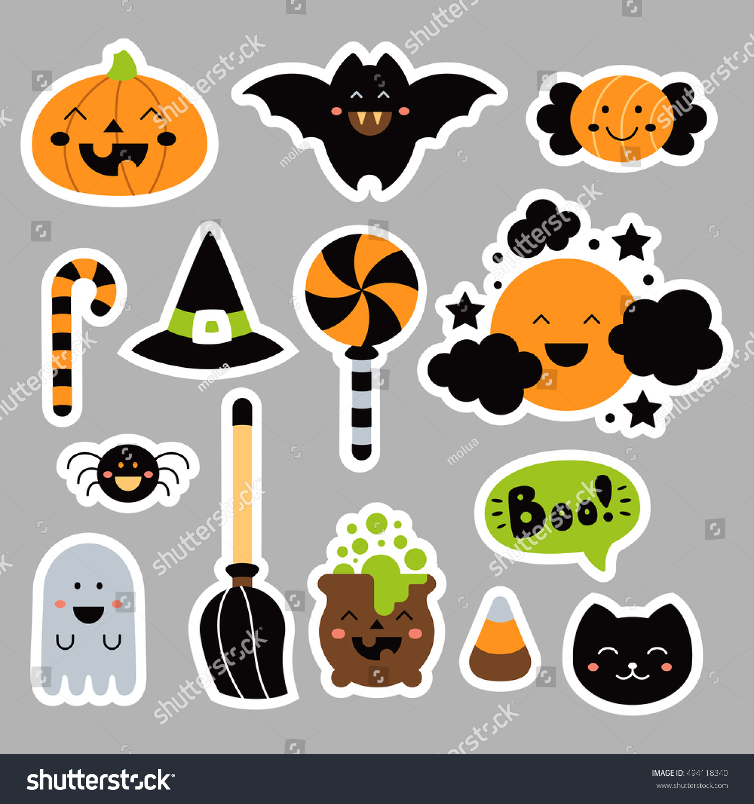 set cute halloween elements kawaii childish stock vector (royalty