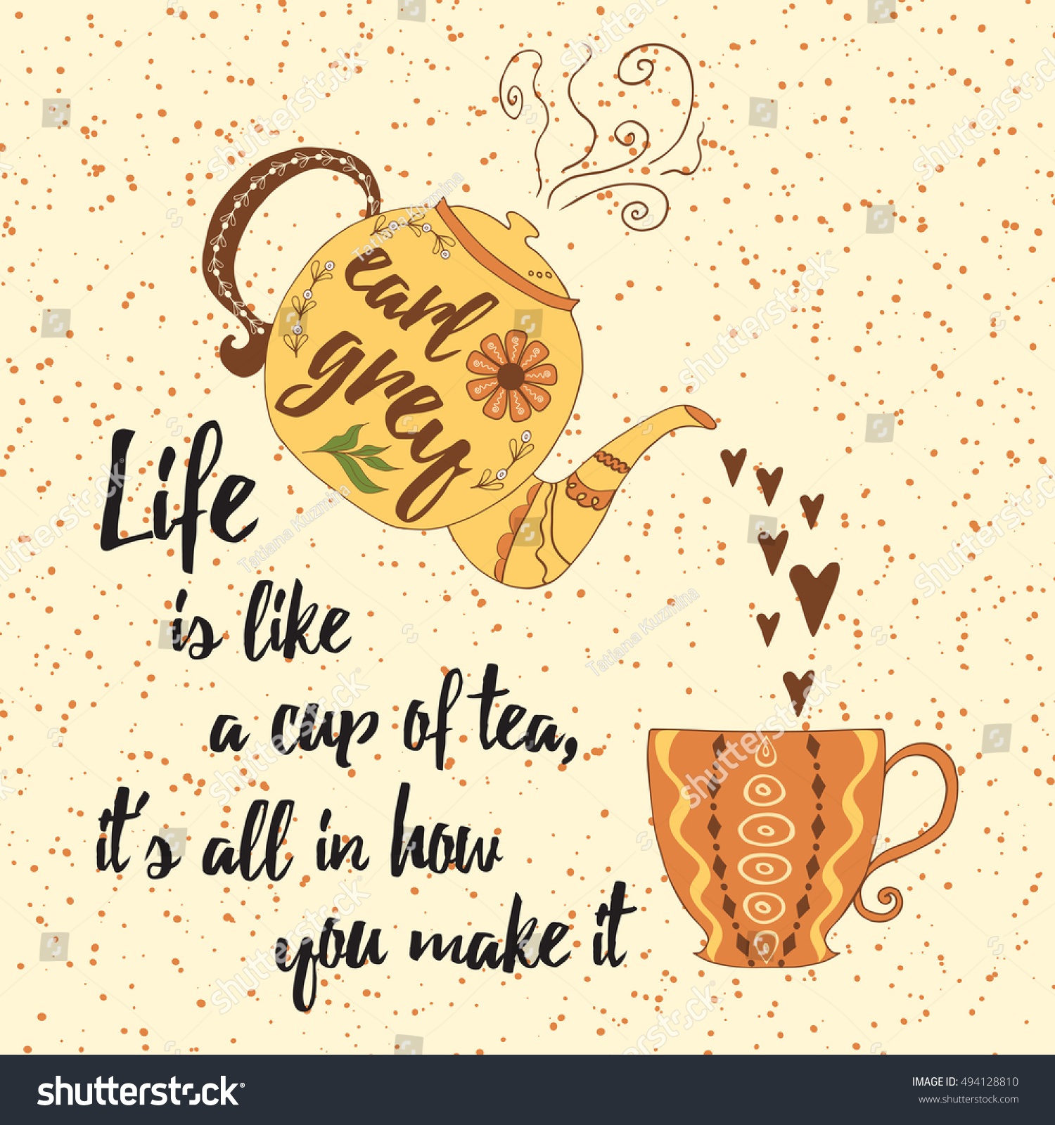 inspirational poster colorful tea cup teapot stock vector hd