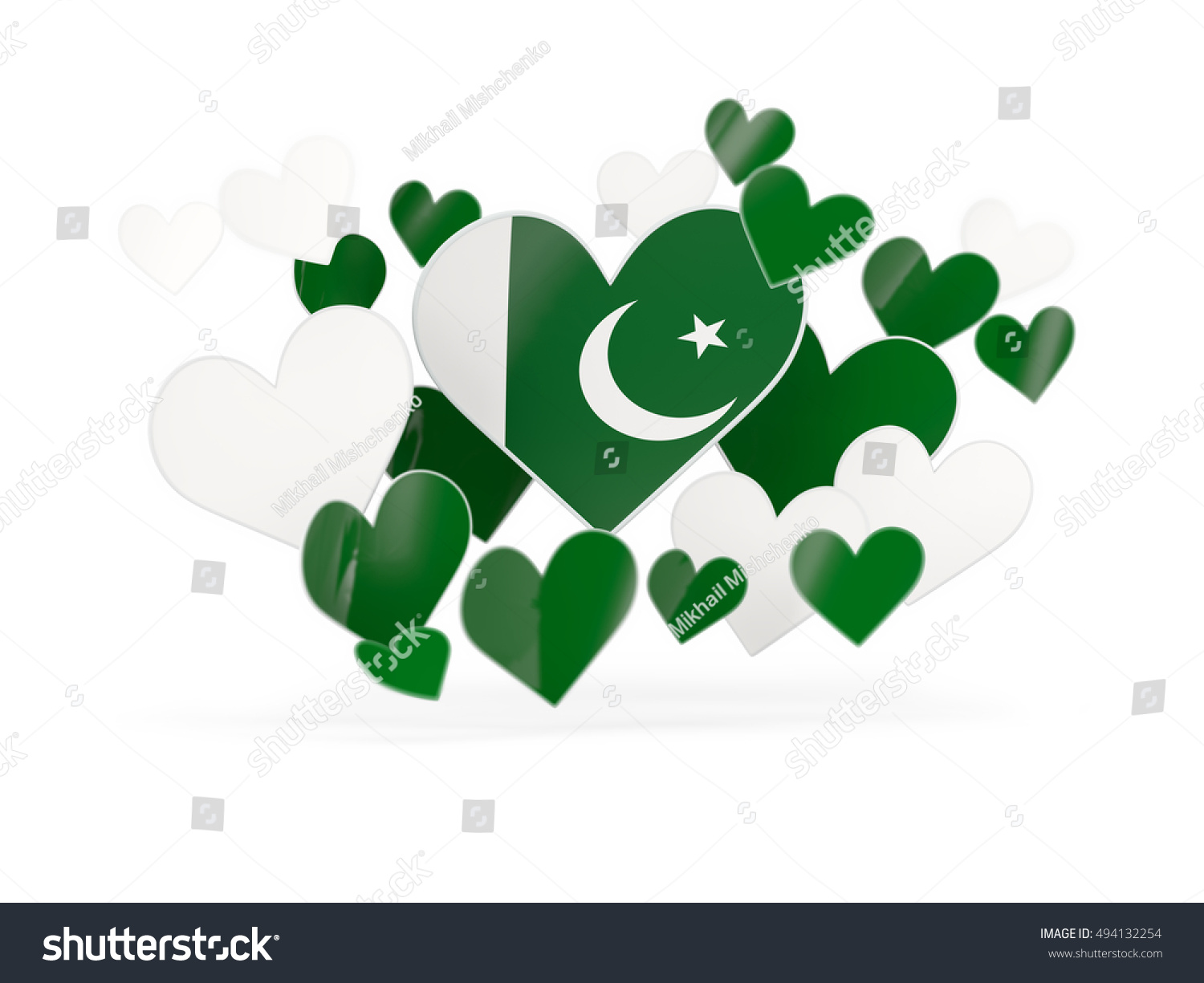 Flag of pakistan heart shaped stickers on white 3d illustration