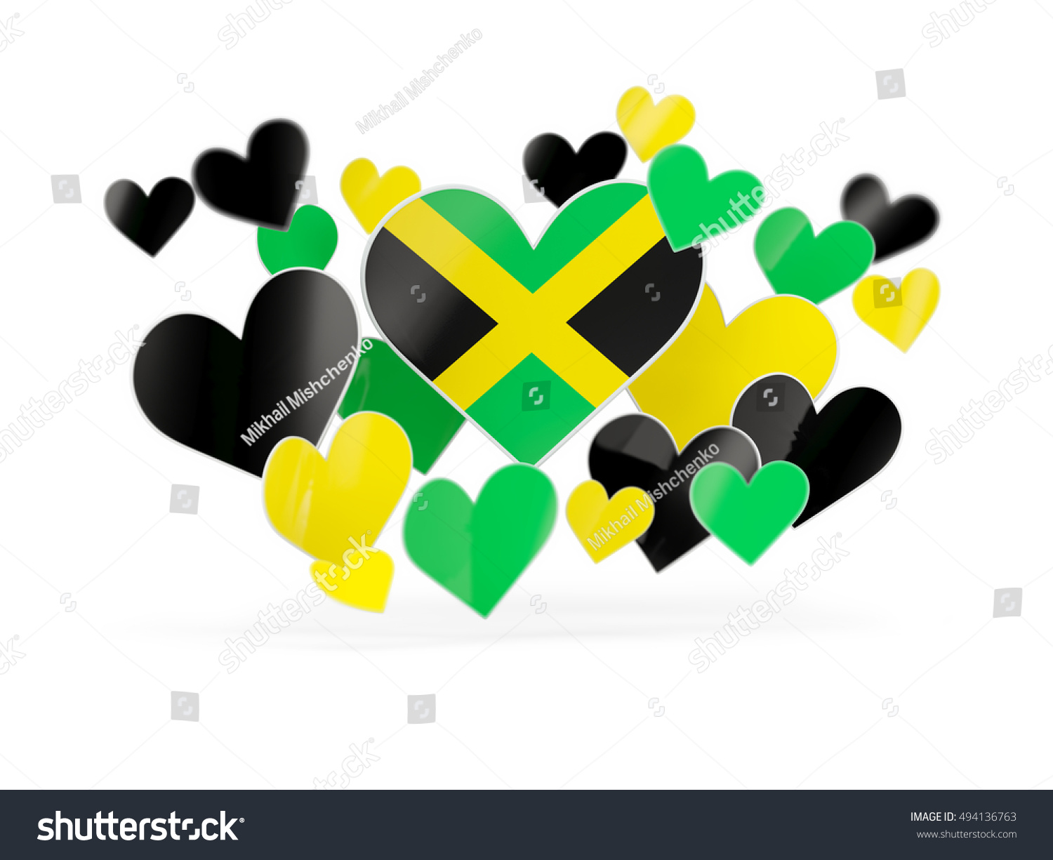 Flag of jamaica heart shaped stickers on white 3d illustration
