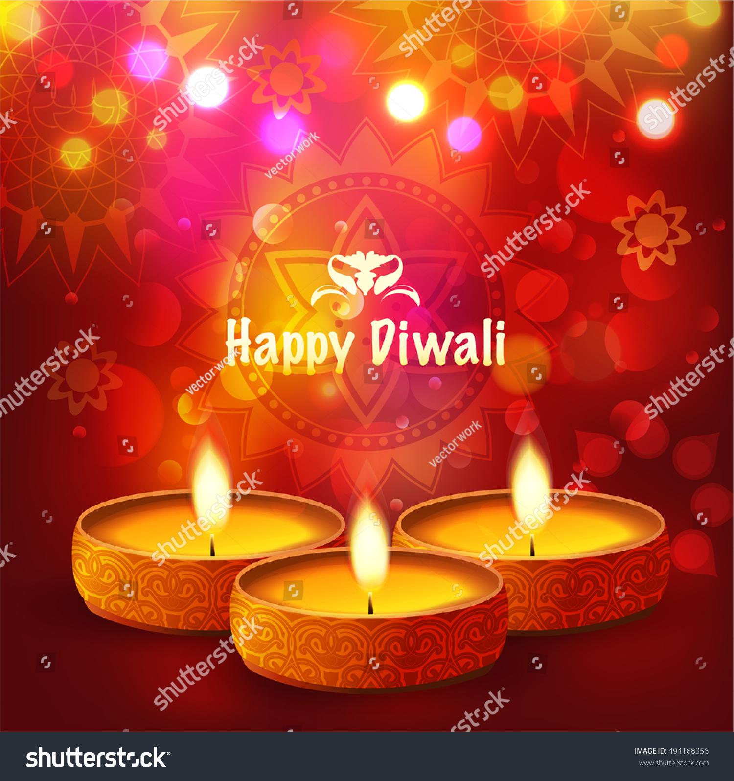 Festival Lights Diwali Greeting Card Background Stock Vector