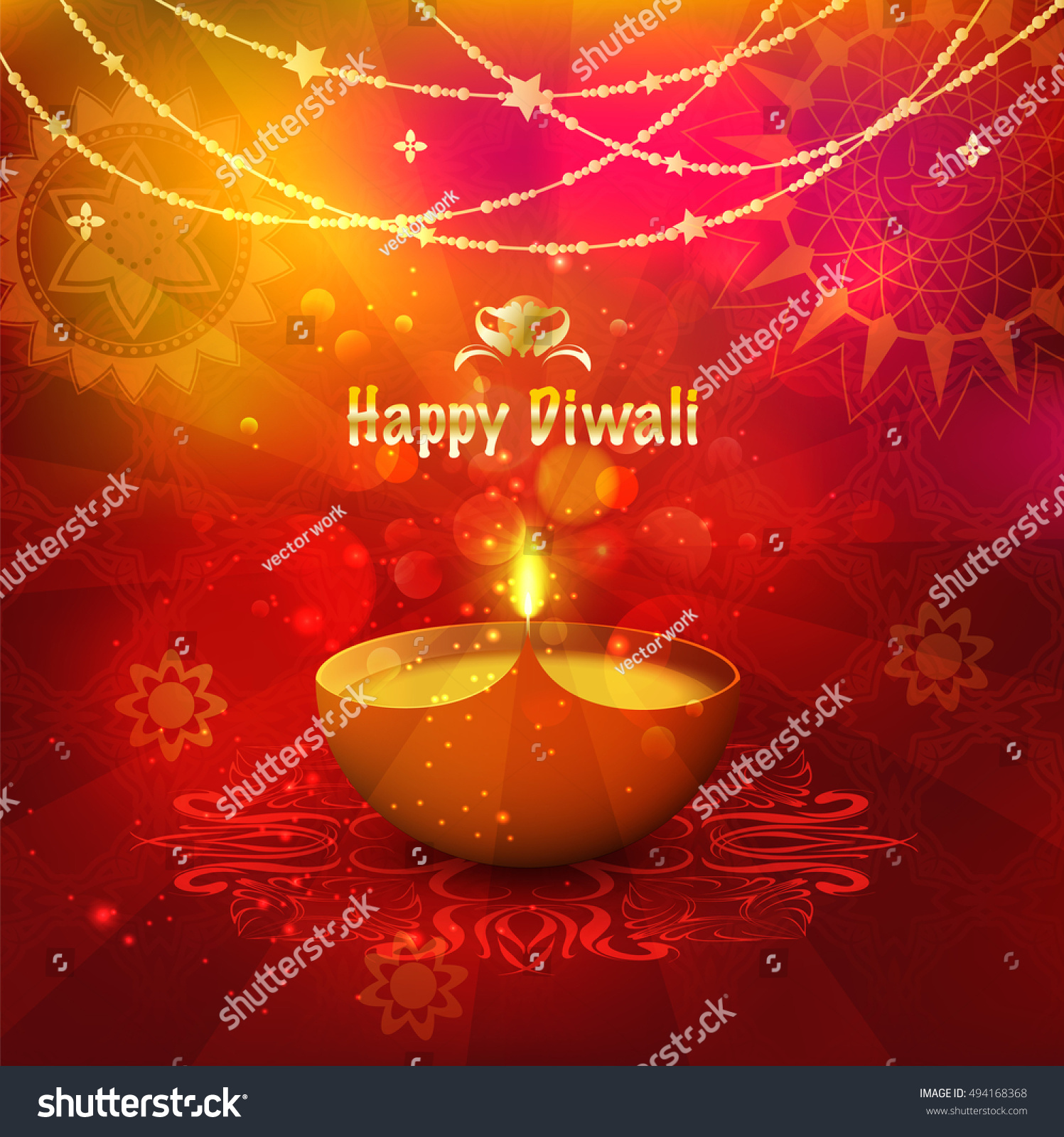 Festival Lights Diwali Greeting Card Background Stock Vector