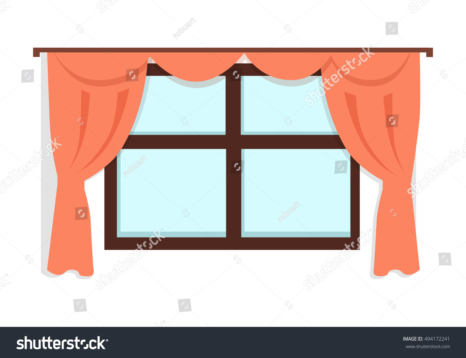 Window Red Curtains On White Wall Stock Vector 494172241 ... for Window With Curtains Illustration  585eri