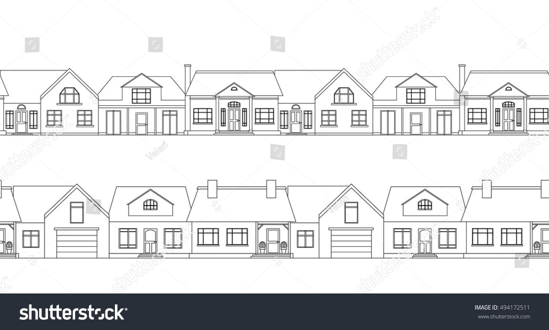 Seamless Border Contour Country Houses Vector Stock Vector 494172511 ...
