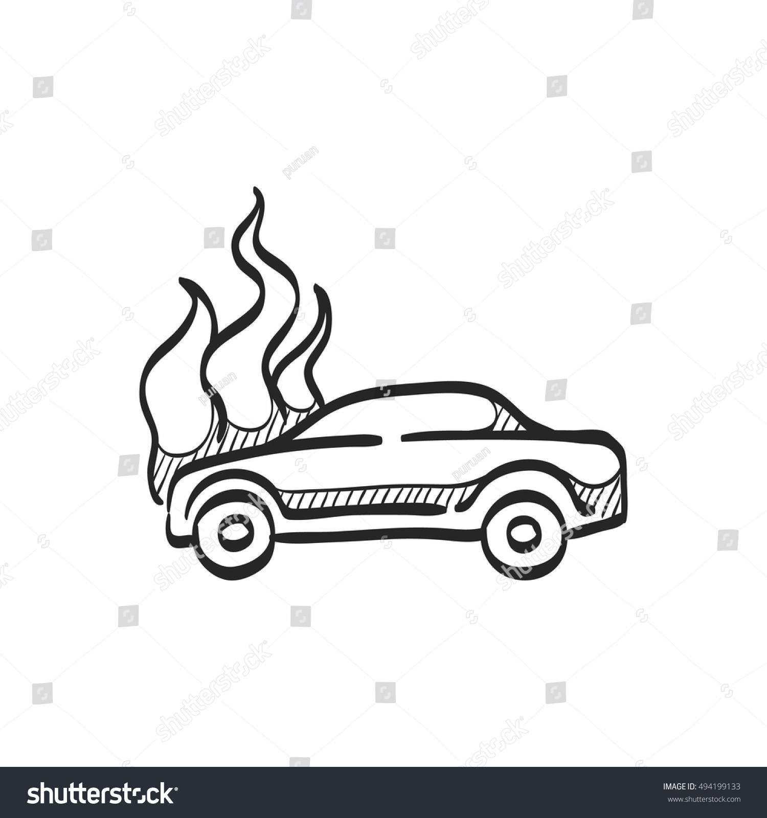 Car On Fire Icon Doodle Sketch Stock Vector 494199133 - Shutterstock