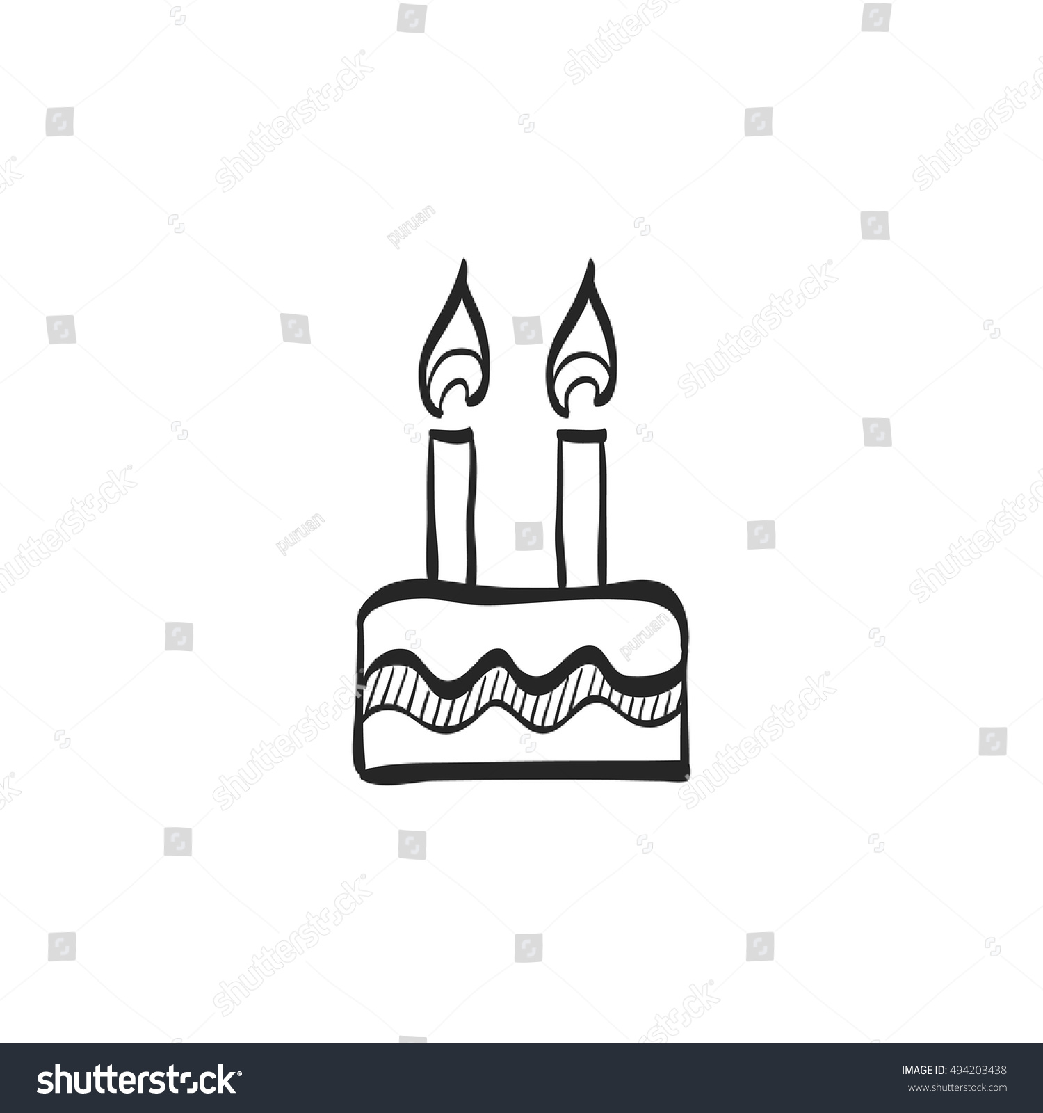 Birthday Cake Icon Doodle Sketch Lines Stock Vector Royalty Free
