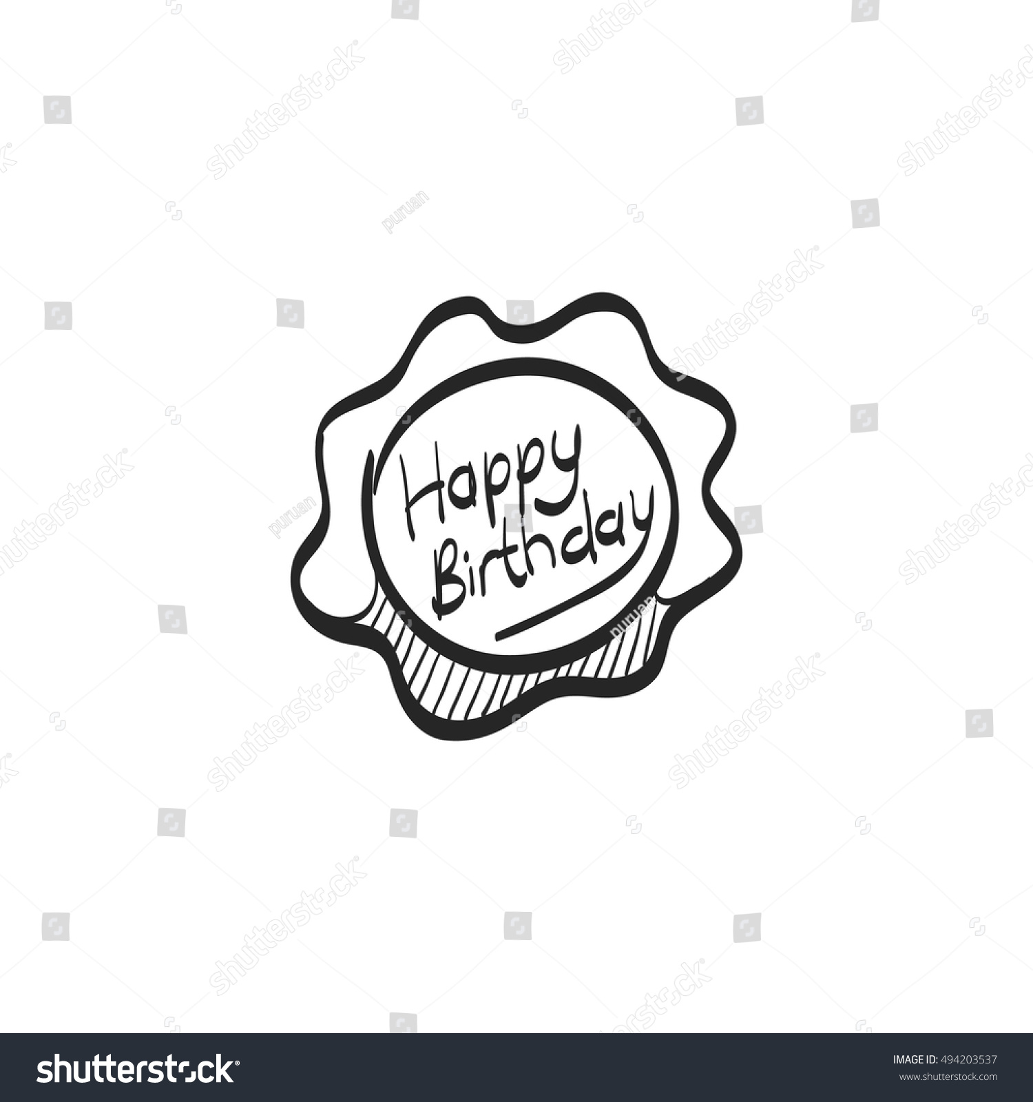 Birthday Cake Text Icon Doodle Sketch Stock Vector Royalty Free