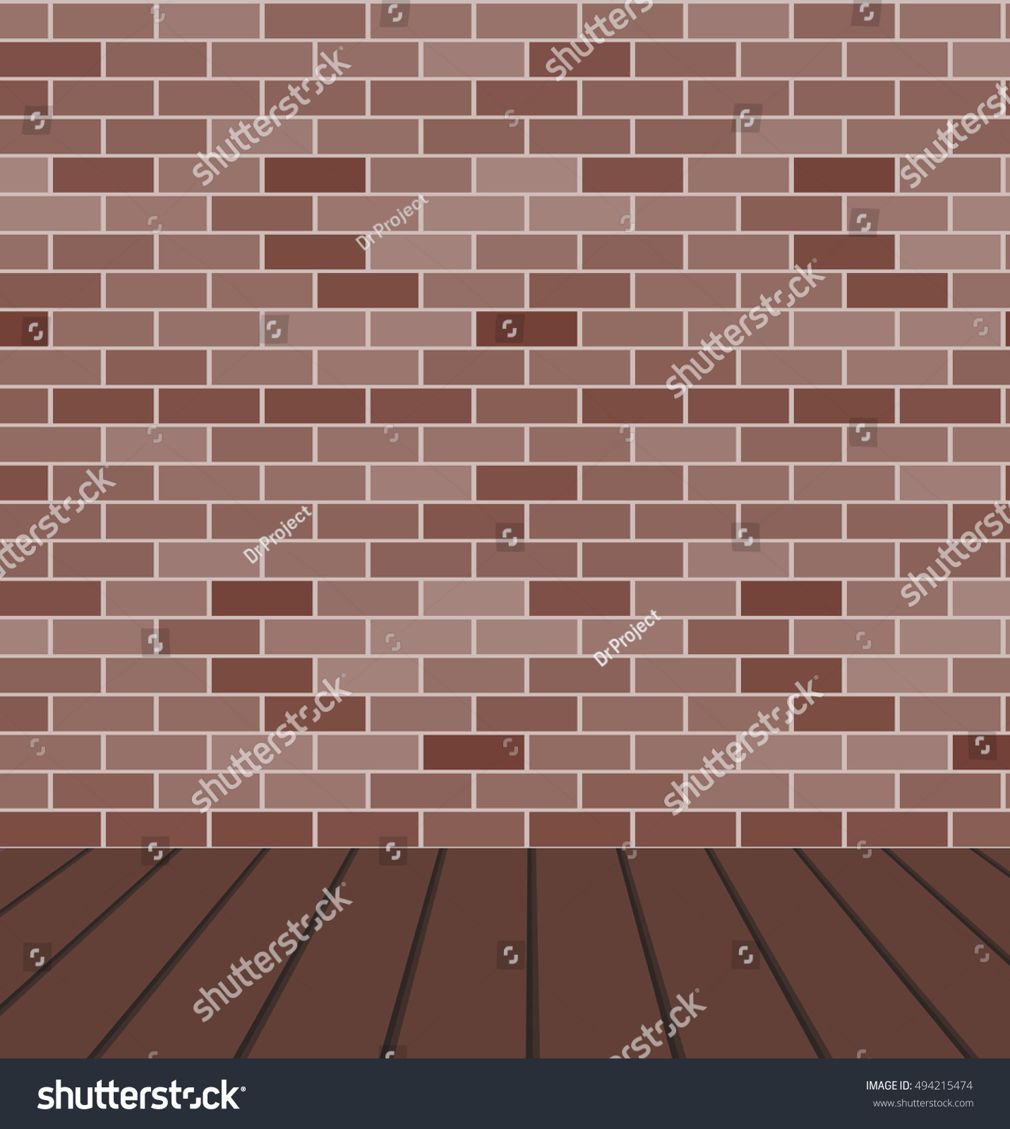 empty room with brown brick wall and wood floor vector grunge background