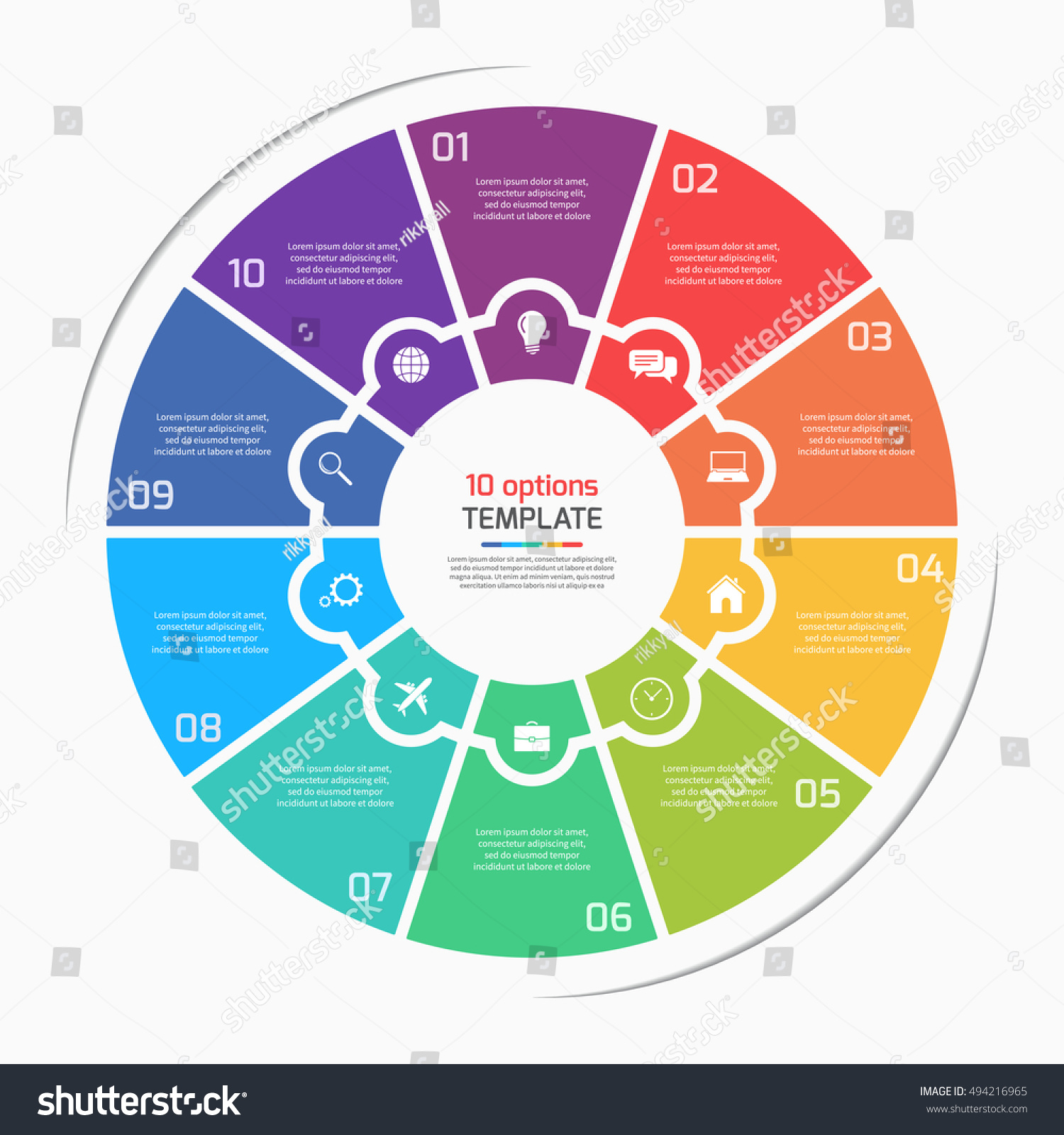 Flat style pie chart circle infographic stock vector 494216965 flat style pie chart circle infographic template with 10 options steps parts processes nvjuhfo Images