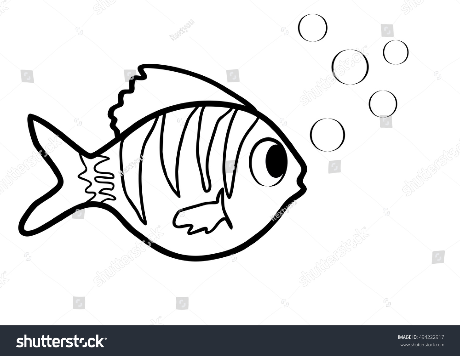 Little Fish Bubbles Coloring Book Black Stock Vector (Royalty Free ...