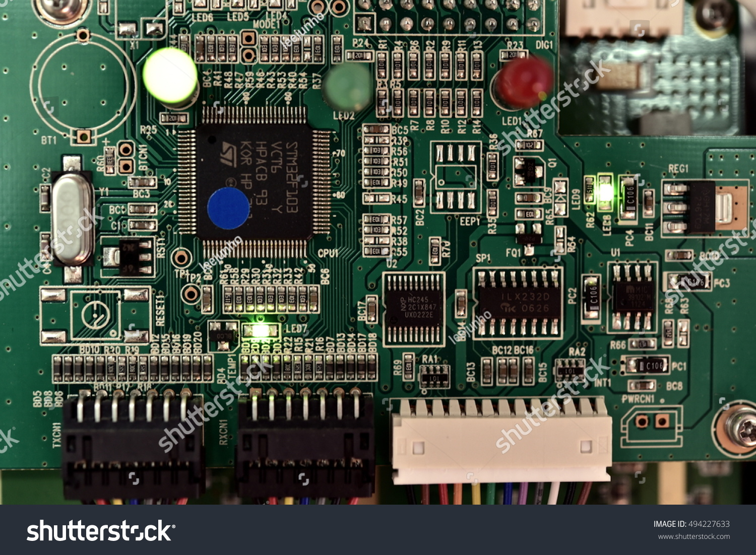 Electronic Components Circuit Board Stock Photo Edit Now Green Computer With Electronics And