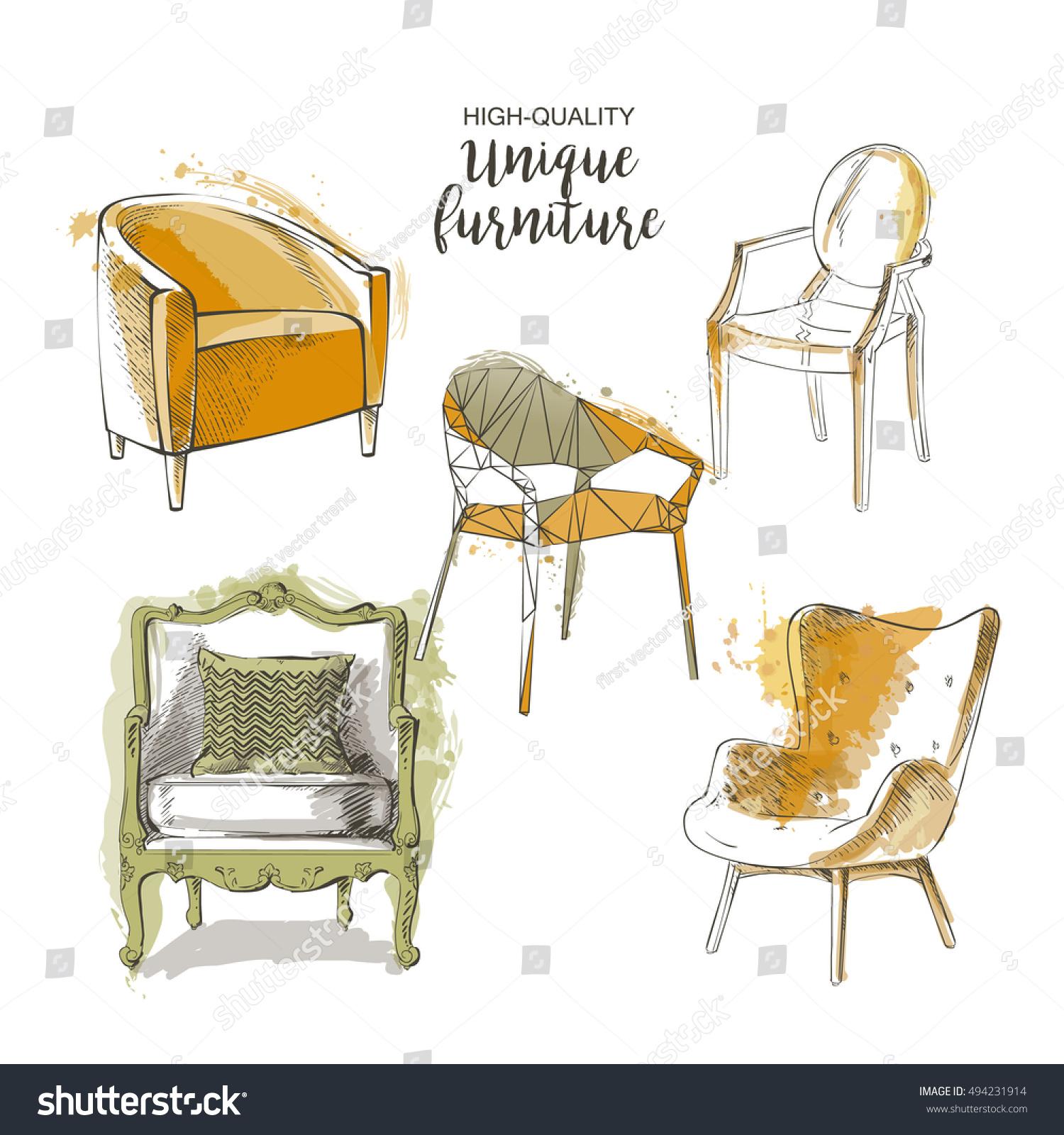 Set Hand Drawn Furniture Interior Detail Stock Vector 494231914 ...