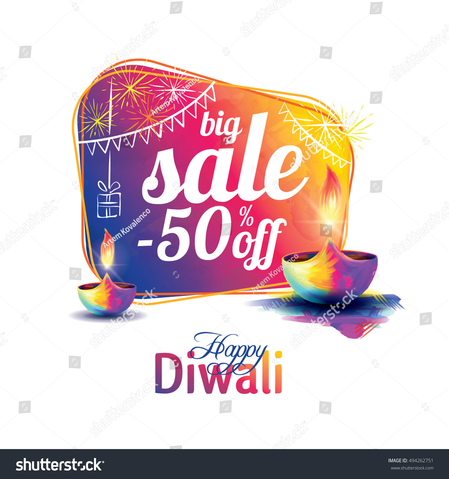 Vector illustration on the theme of the traditional celebration of happy diwali Deepavali light and fire festival