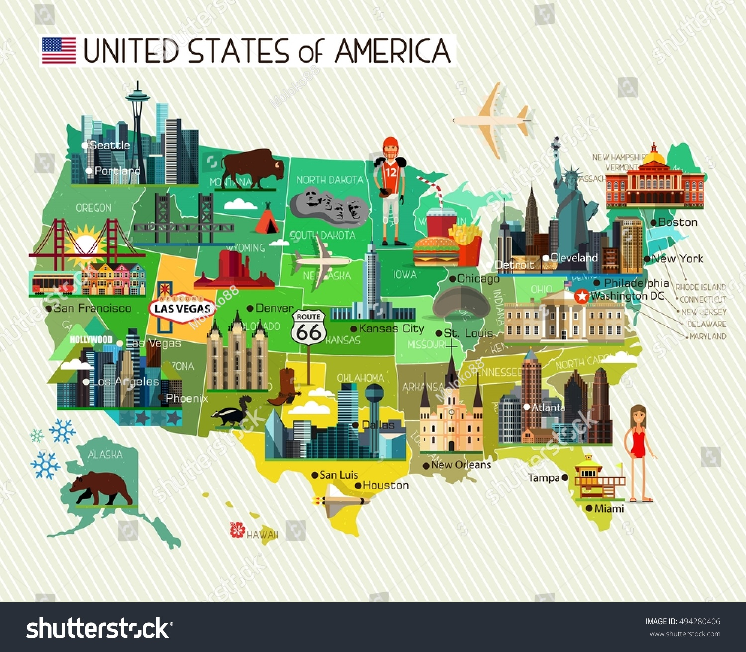 Map United States America Travel Icons Stock Vector - America map chicago