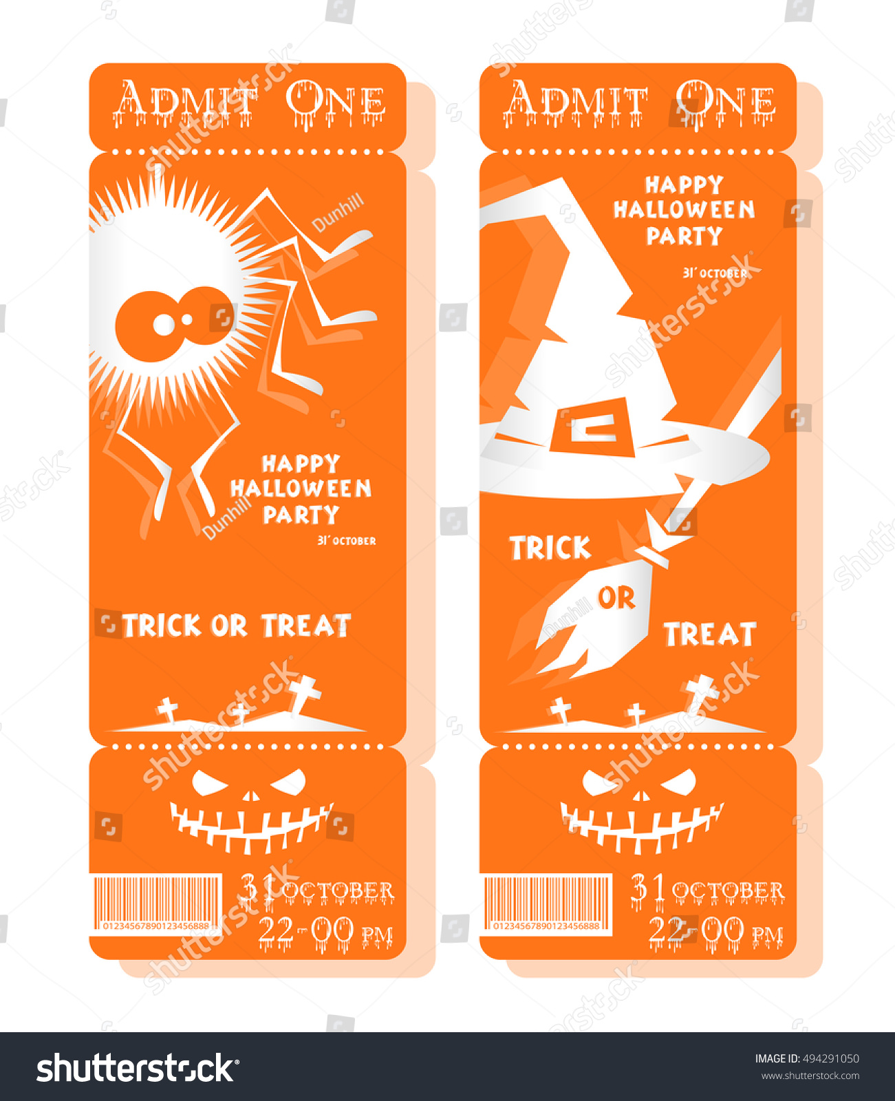 Set Funny Holiday Tickets Title Happy Stock Vector 494291050 ...