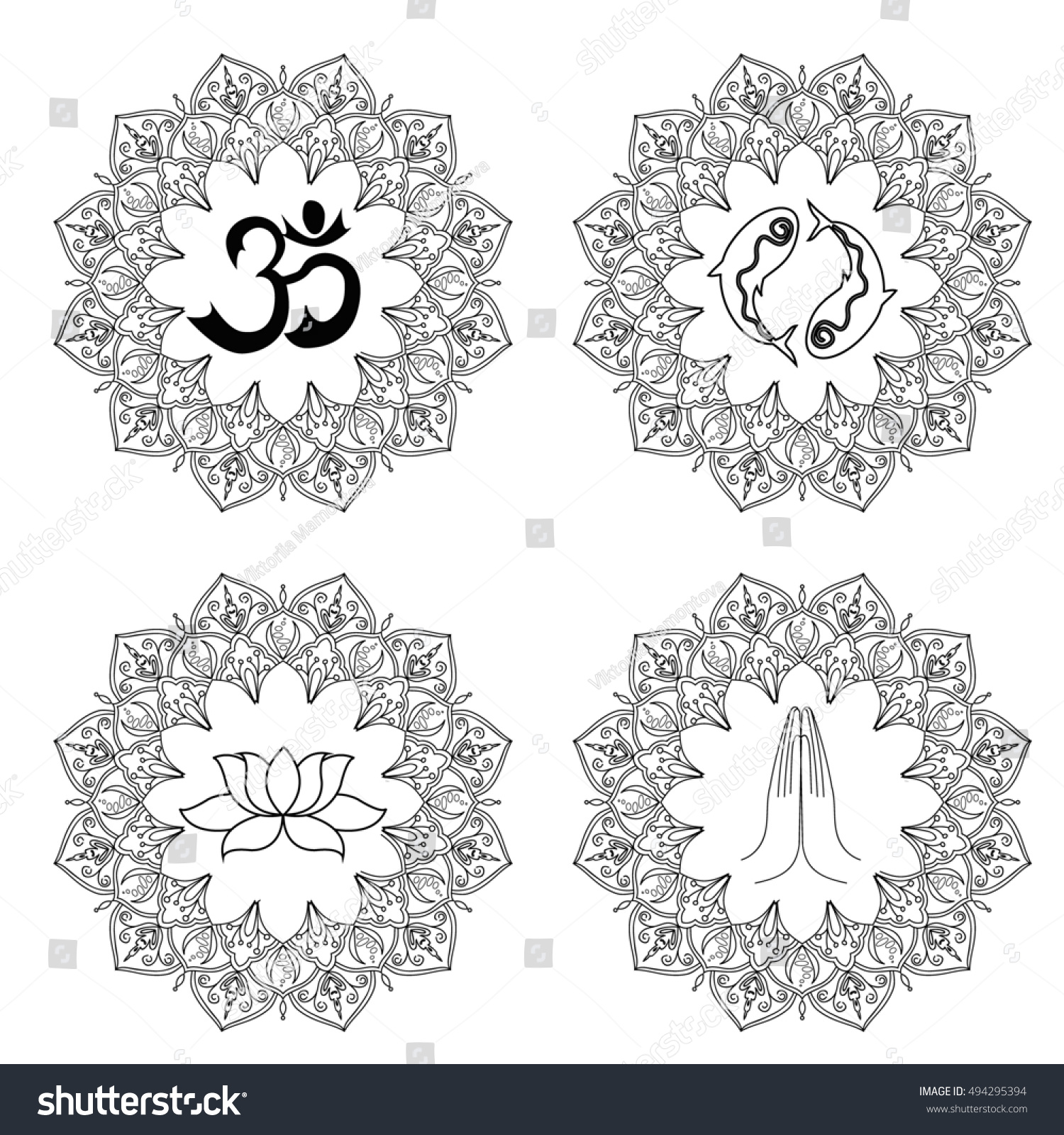 Set Religion Symbols Buddhism Black Silhouettes Stock Illustration