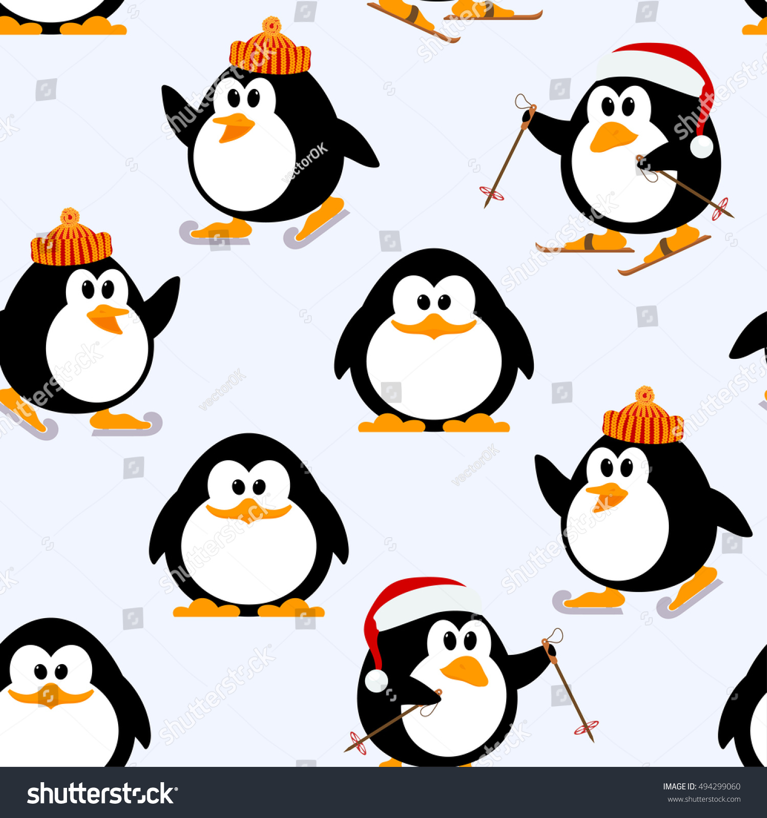 Christmas Winter Knitted Pattern With Penguins Auto Electrical Connectors Wiring Ford Harness Wpt727 Vector Seamless Young Playing Stock
