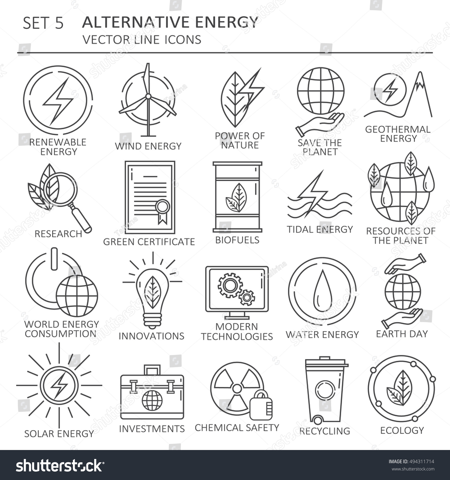 Big set symbols alternative energy renewable stock vector big set of symbols of alternative energy and renewable energy sources modern thin flat line biocorpaavc Gallery