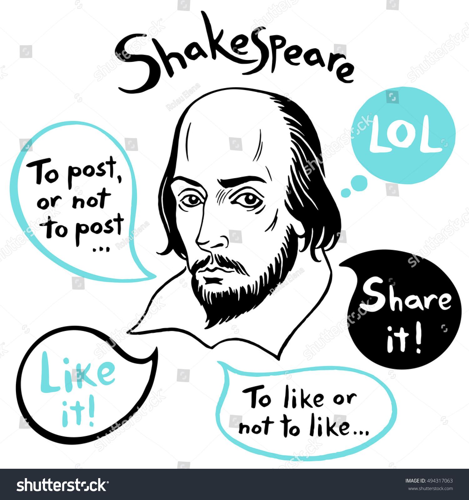 Shakespeare Porträt Mit Sprachblasen Und Lustigen Stock